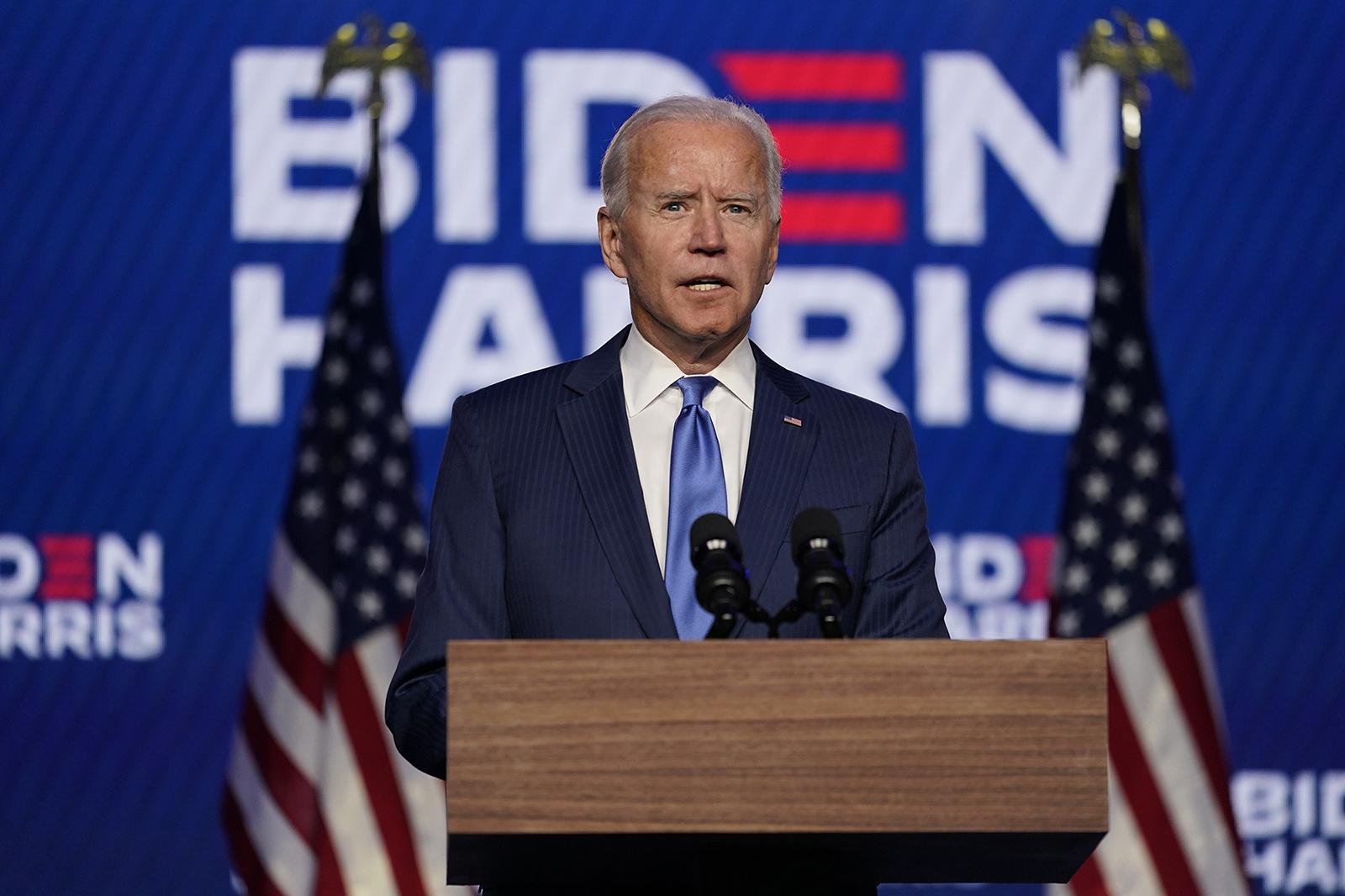 Democratic presidential candidate and former Vice President Joe Biden speaks in Wilmington, Delaware, on November 6.