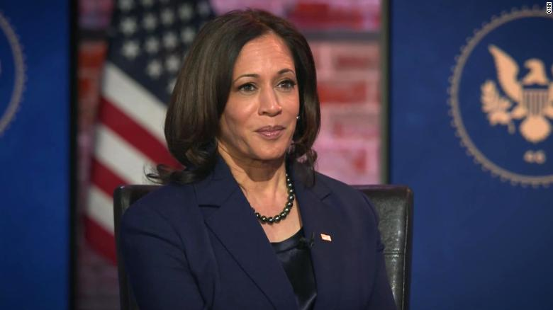 Vice President-elect Kamala Harris speaks during an interview with CNN's Jake Tapper on December 3.