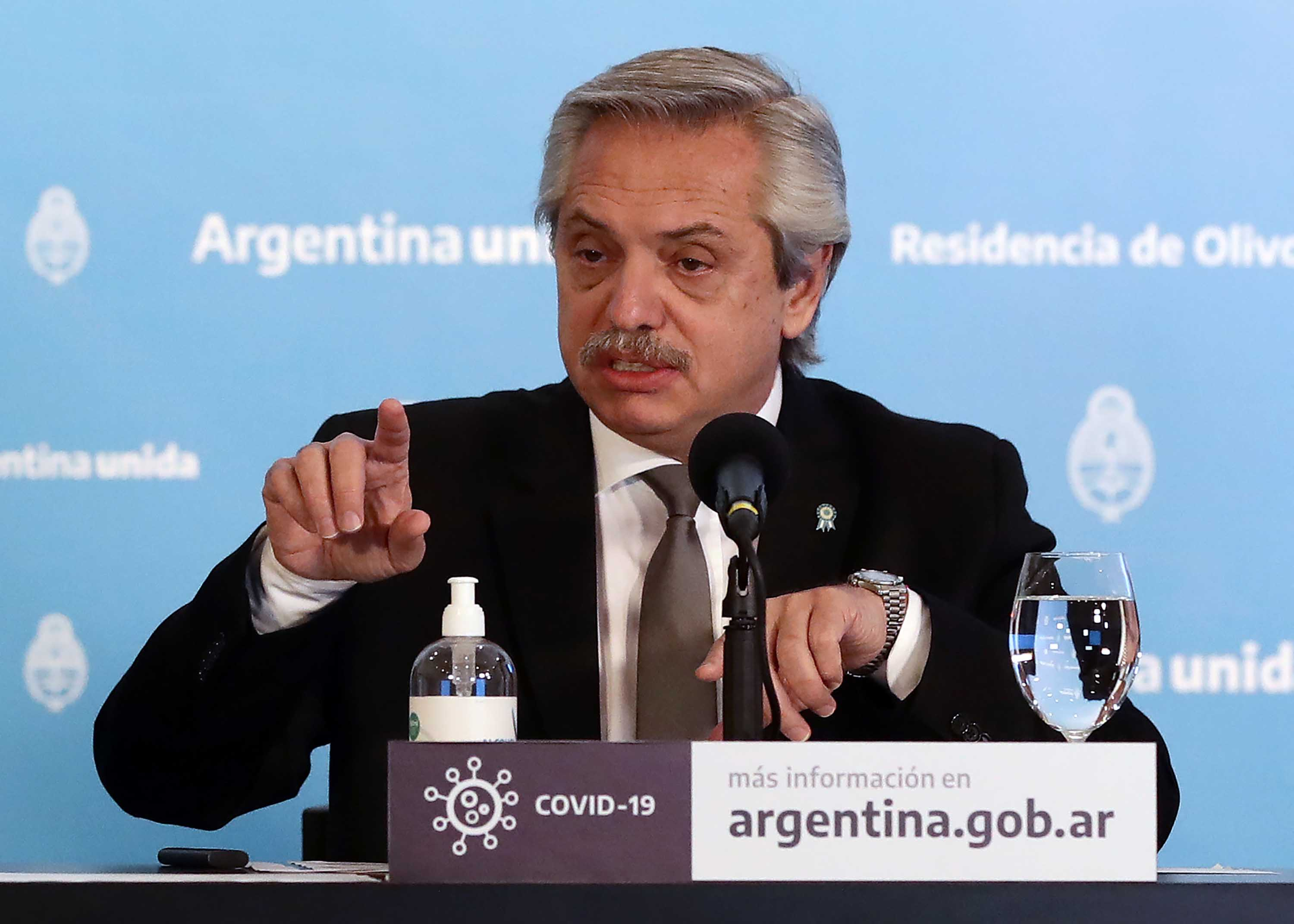 Argentine President Alberto Fernandez is pictured speaking at a press conference about coronavirus lockdown measures in Olivos, Argentina, on May 23.
