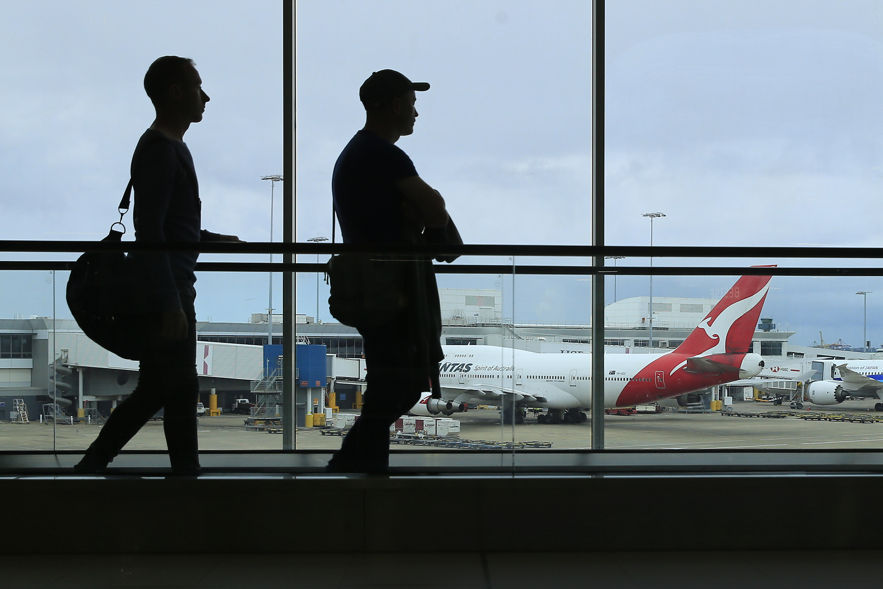 A Qantas jet sits on the tarmac at Sydney airport on March 10, in Sydney, Australia.