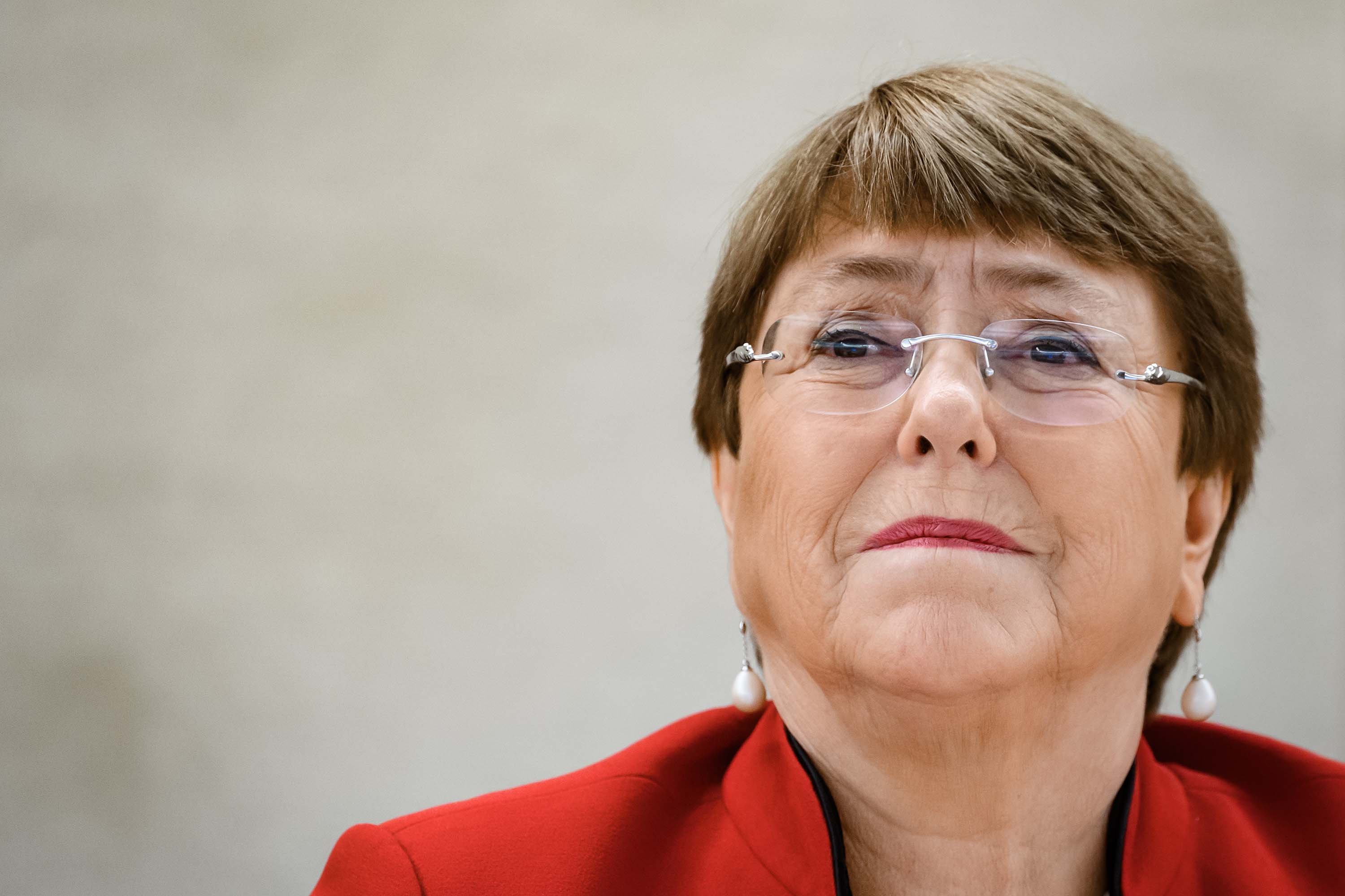 United Nations High Commissioner for Human Rights Michelle Bachelet is pictured attending the opening of the UN Human Rights Council's annual session on February 24, in Geneva, Swizterland.