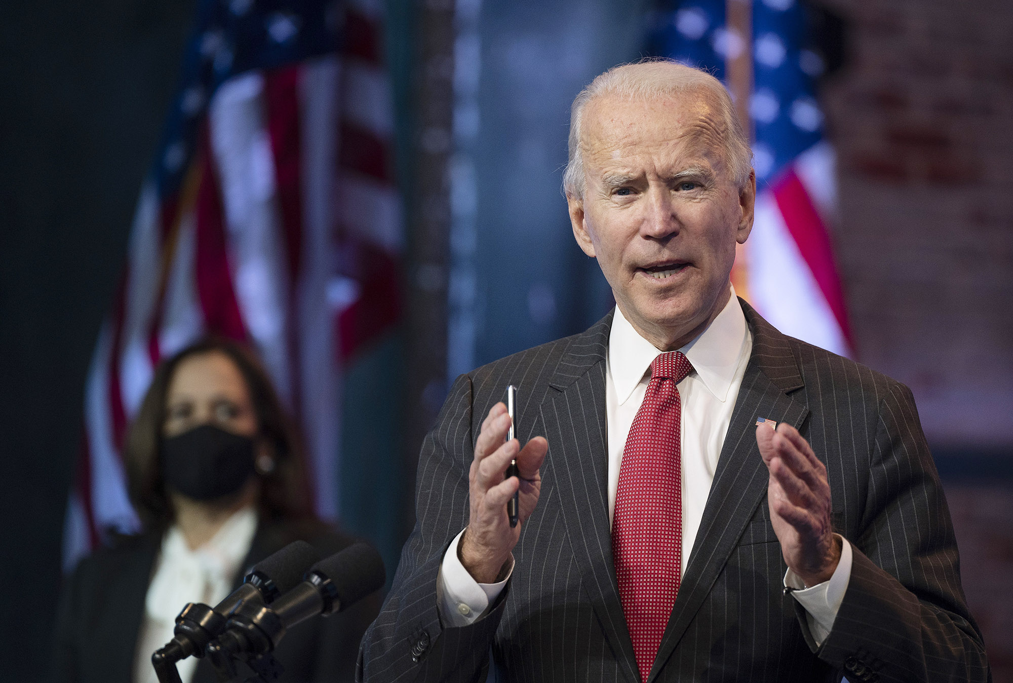 US President-elect Joe Biden speaks after a meeting with governors in Wilmington, Delaware, on November 19.