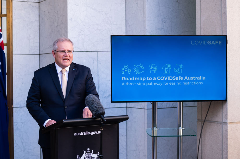 Prime Minister Scott Morrison speaks during a news conference following a National Cabinet meeting at Parliament House on May 8 in Canberra, Australia.