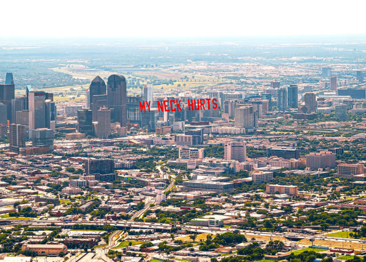 A banner flies above Dallas, where artist Jammie Holmes is based.