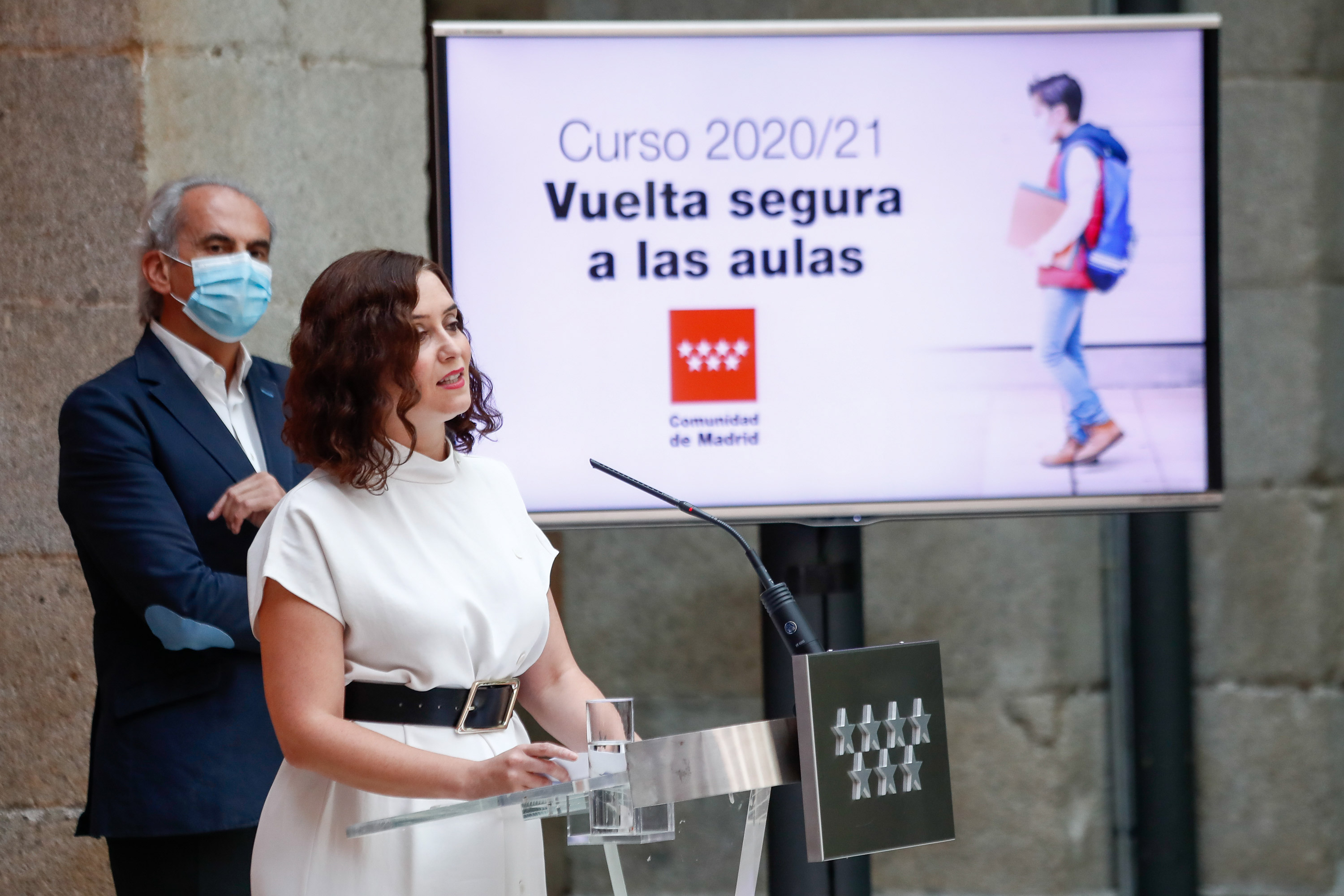 The president of Spain's Madrid region, Isabel Díaz Ayuso, speaks during a presentation of the regional government's strategy for the return to the schools on August 25 in Madrid.