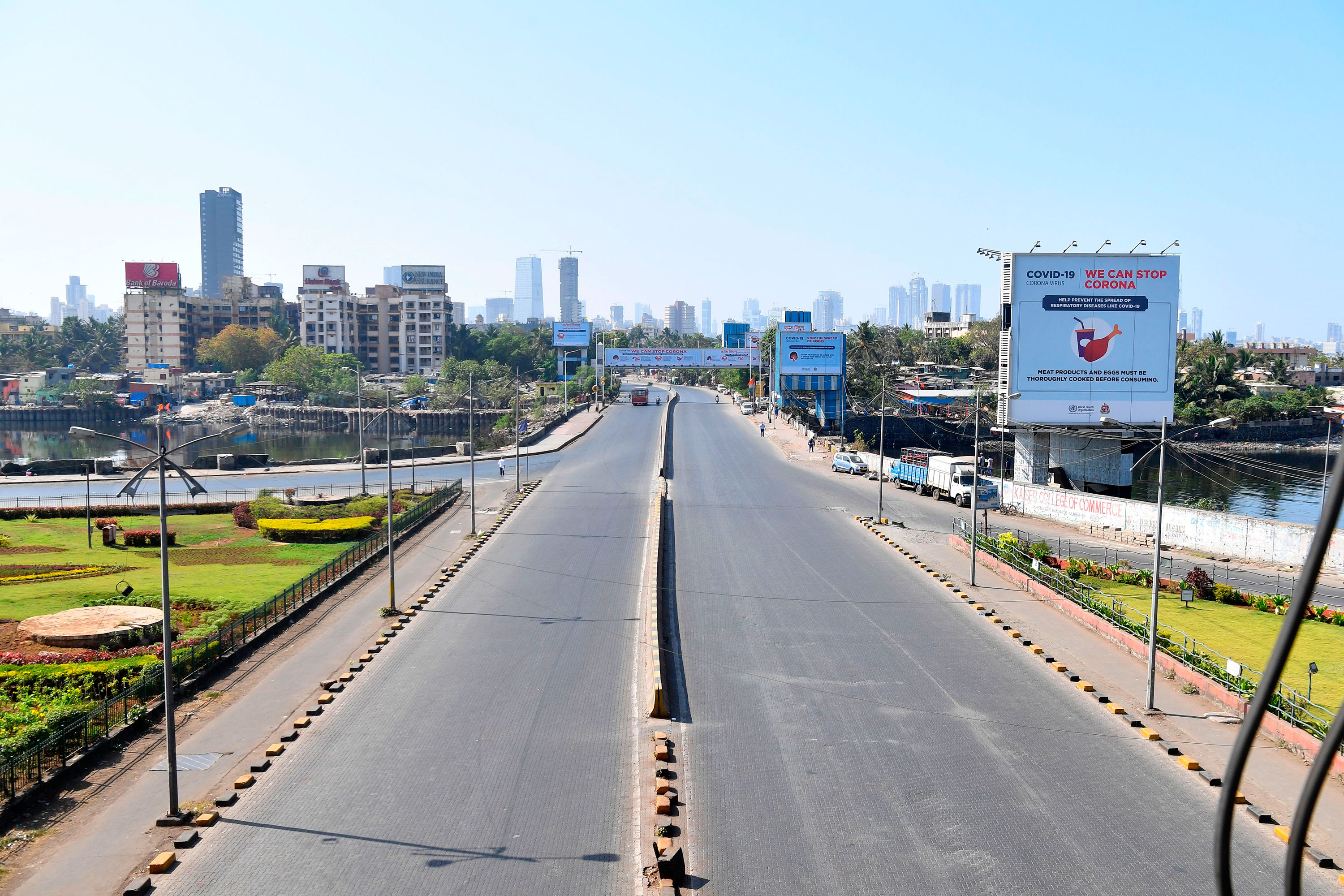 A nearly empty street is seen in Mumbai, India on March 22.