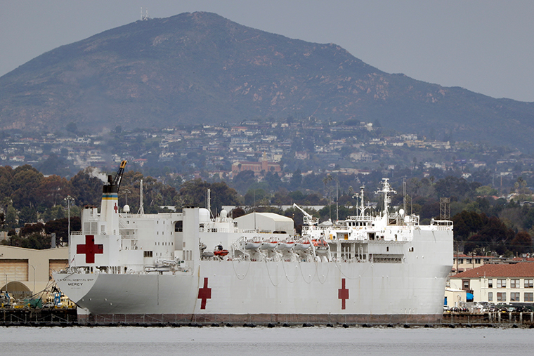 The USNS Mercy is seen docked at Naval Base San Diego Wednesday, March 18, 2020.