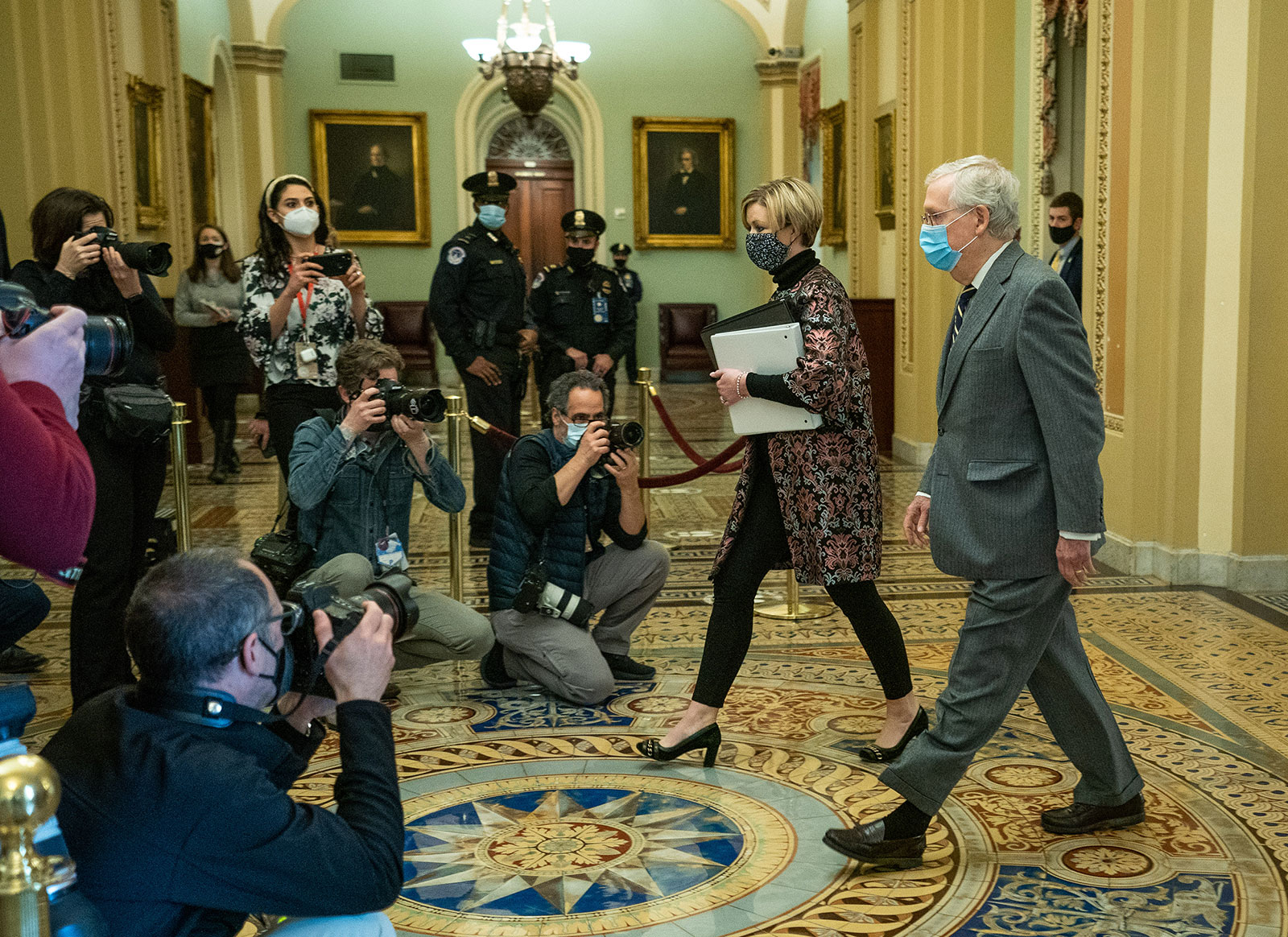 Senate Minority Leader Mitch McConnell arrives at the US Capitol on February 10.