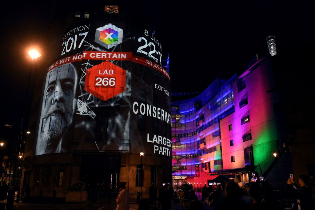 The results of the 2017 election are projected onto the BBC's New Broadcasting House in London.