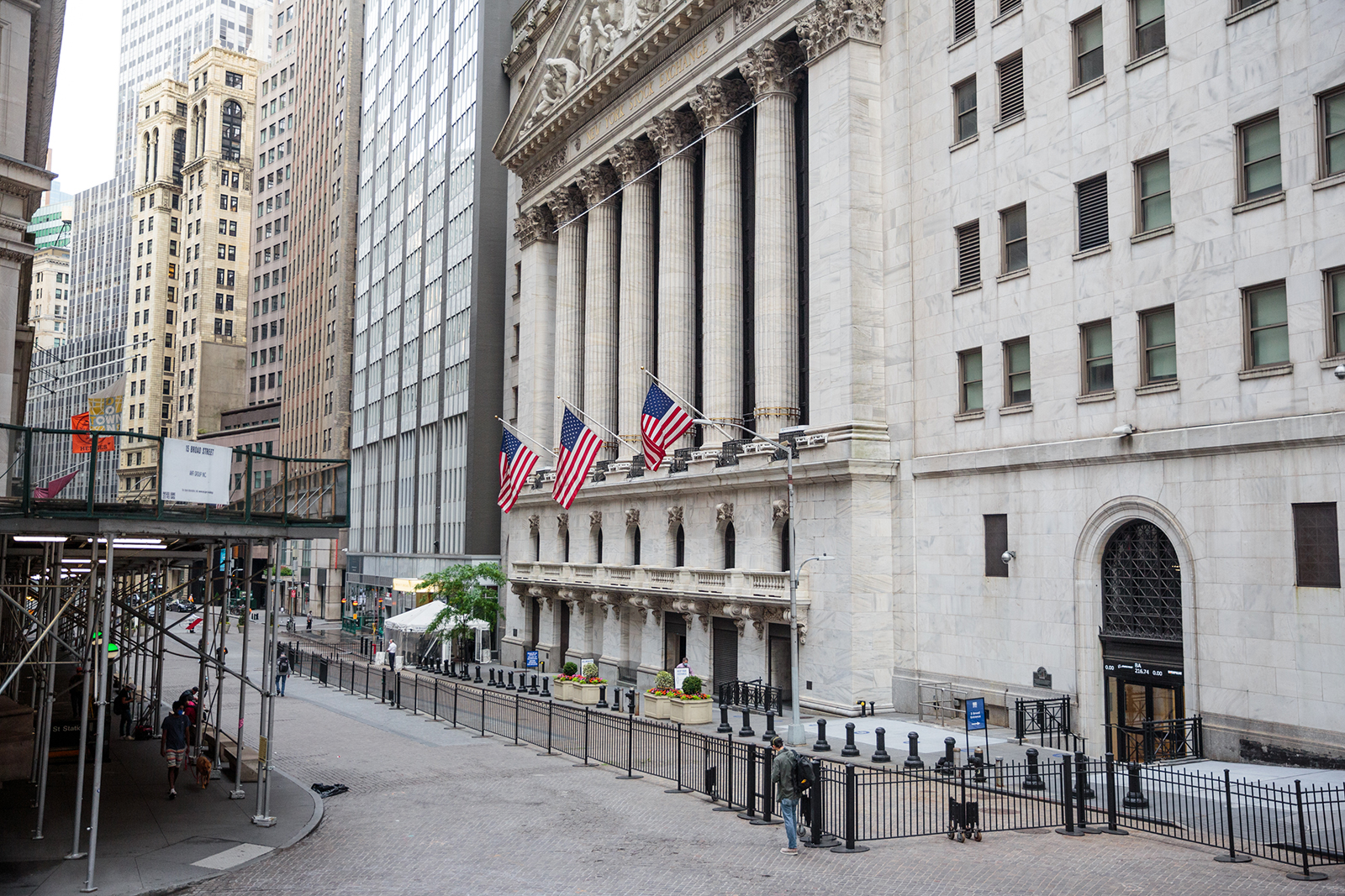 American flags hang on display outside the New York Stock Exchange (NYSE) in New York, on June 10.