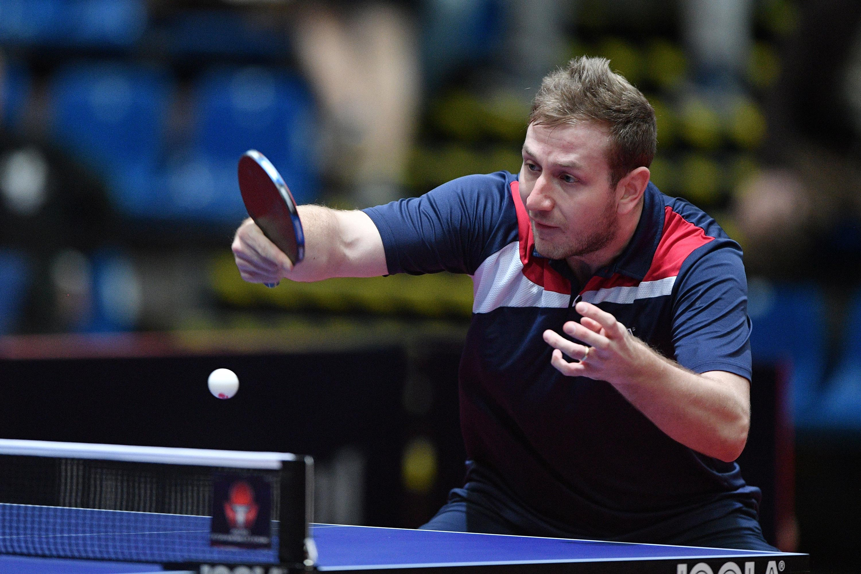 Czech Republic's Pavel Širuček competes in the ITTF World Tour in Budapest, Hungary, on February 21, 2020.