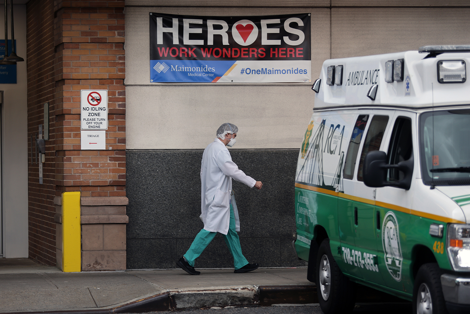A medical worker walks outside of the Maimonides Medical Center in Brooklyn on December 1, in New York City.