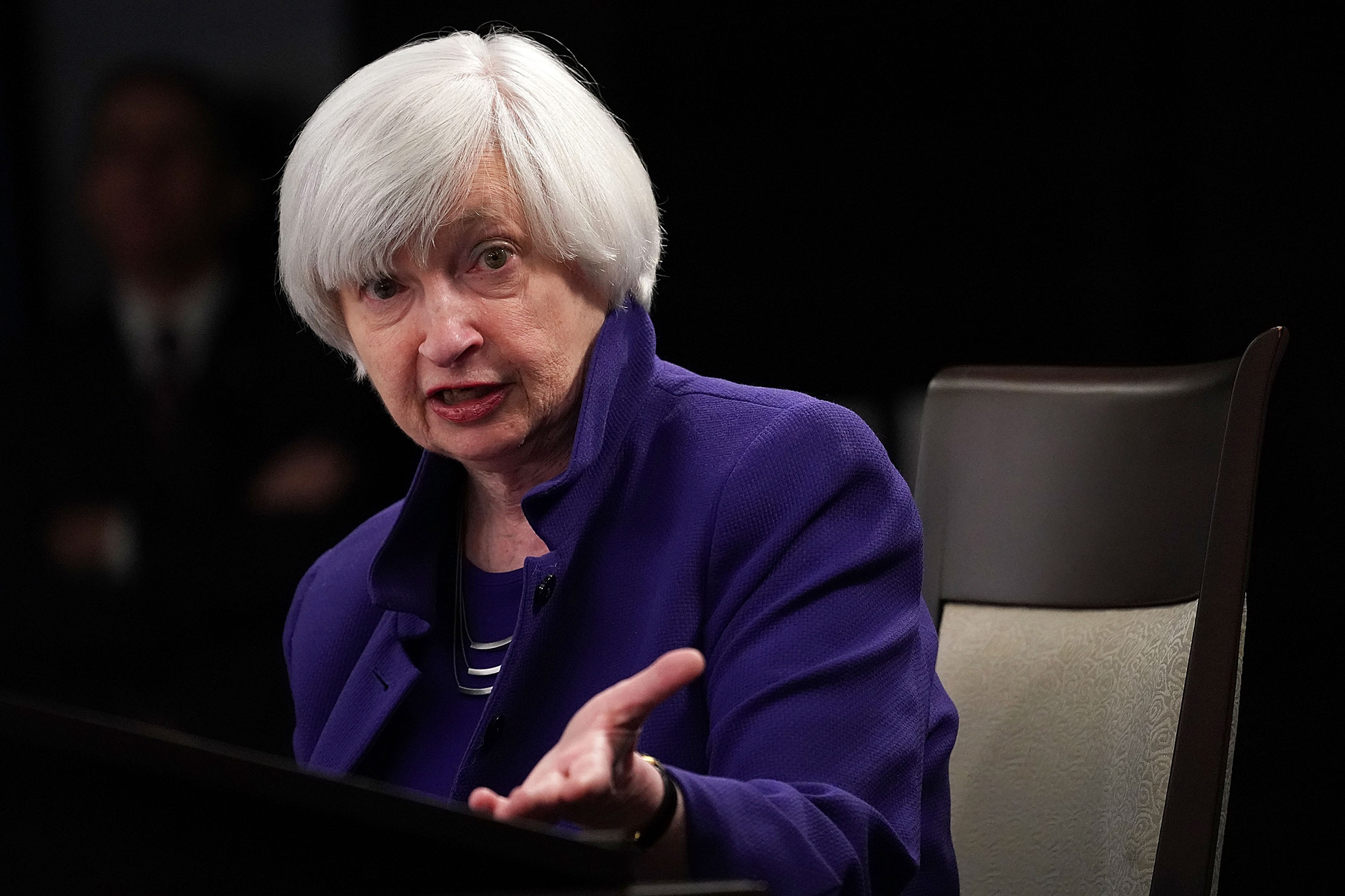 Federal Reserve Chair Janet Yellen speaks during her last news conference in office in Washington DC, on December 13, 2017.