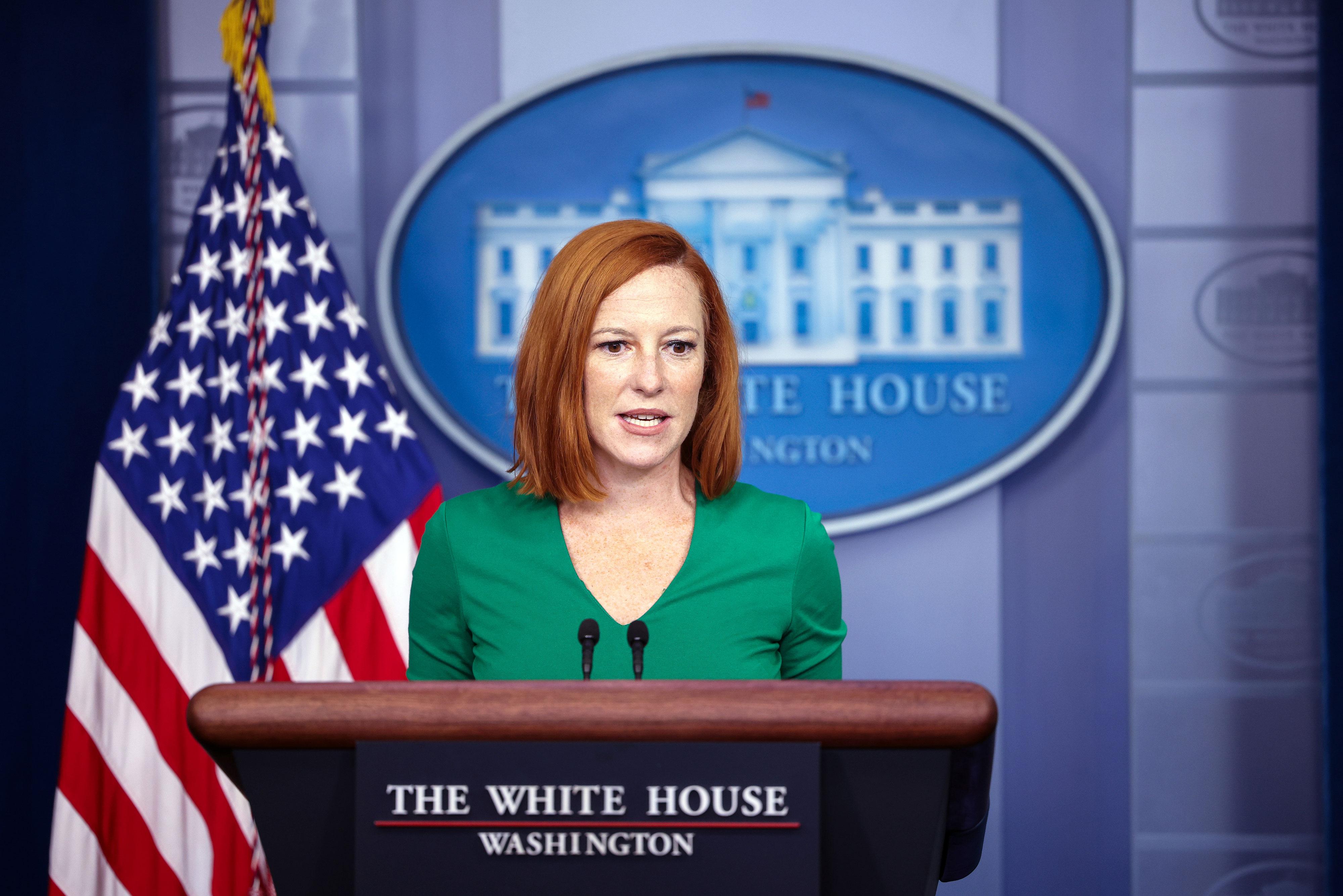 White House press secretary Jen Psaki speaks during a briefing at the White House on September 9.