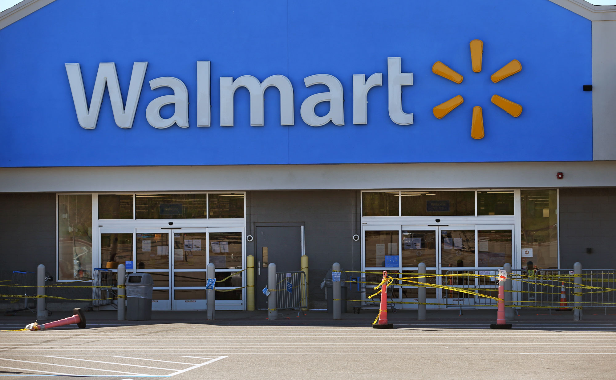 A Walmart store in Quincy, MA, pictured on May 5, has now closed after a worker died due to COVID-19.