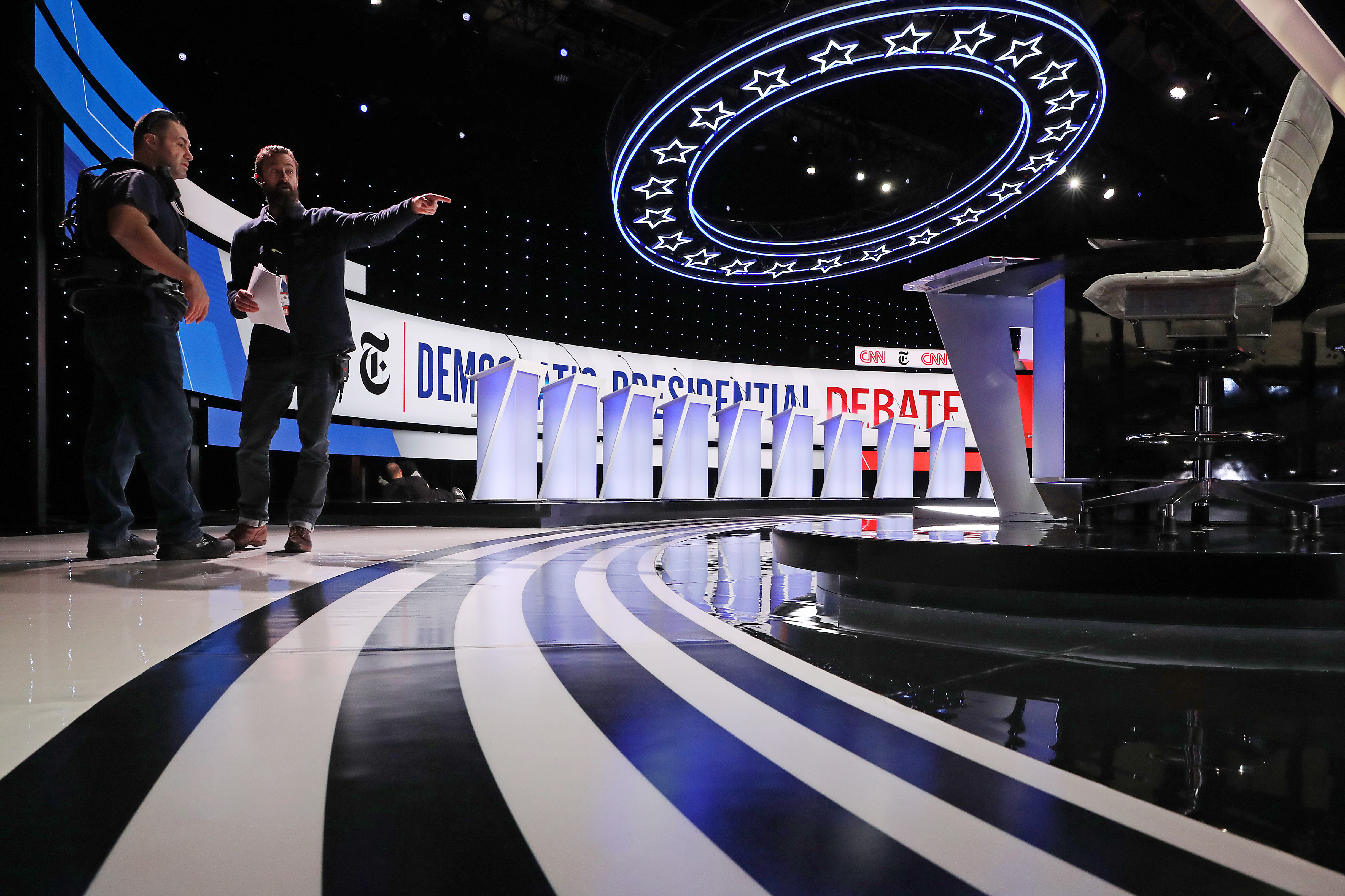 The stage is prepared ahead of Democratic presidential debate inside the Clements Recreation Center at Otterbein University on Oct. 15, 2019 in Westerville, Ohio.