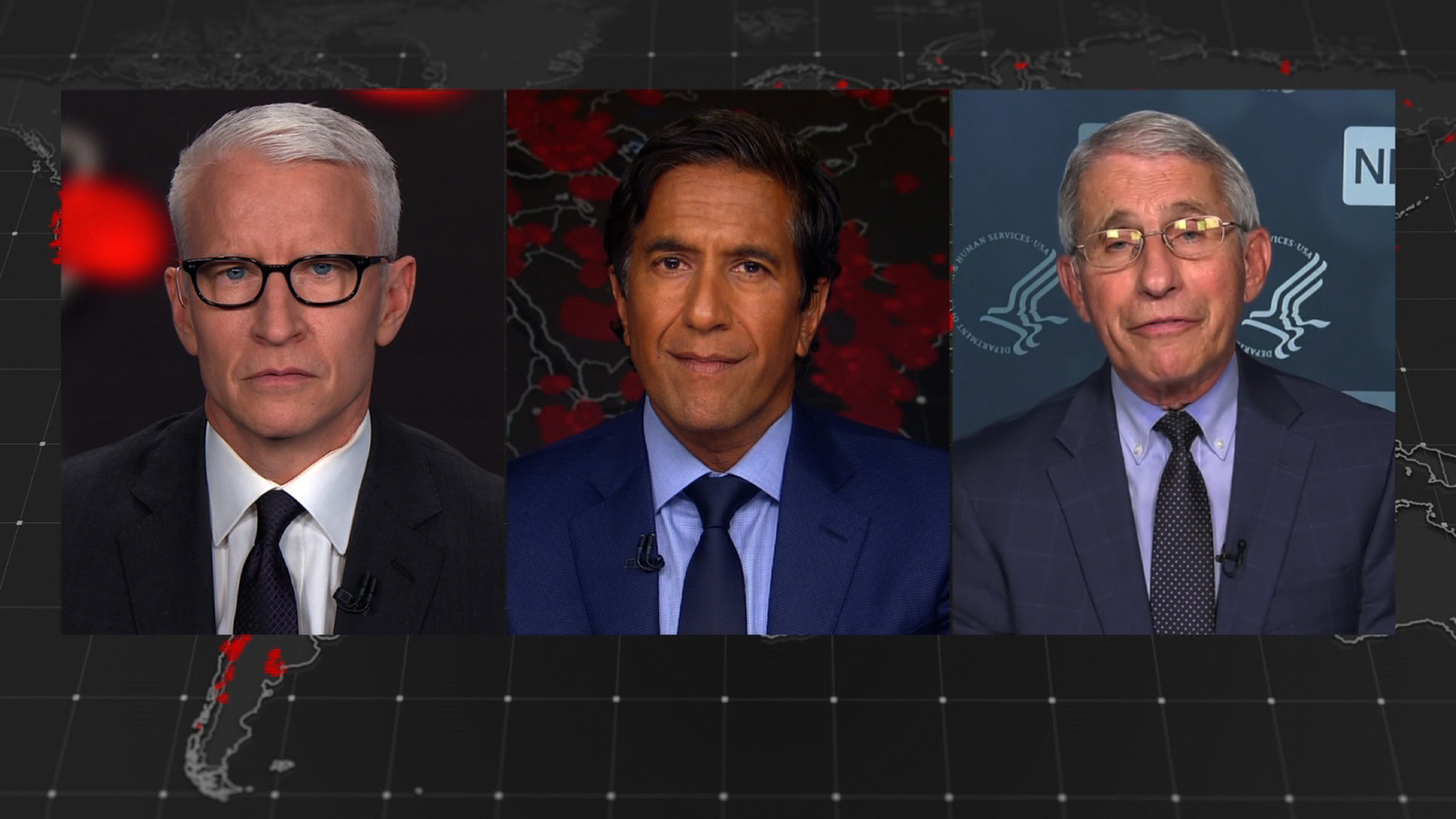 CNN's Anderson Cooper, Sanjay Gupta, and Dr. Anthony Fauci
