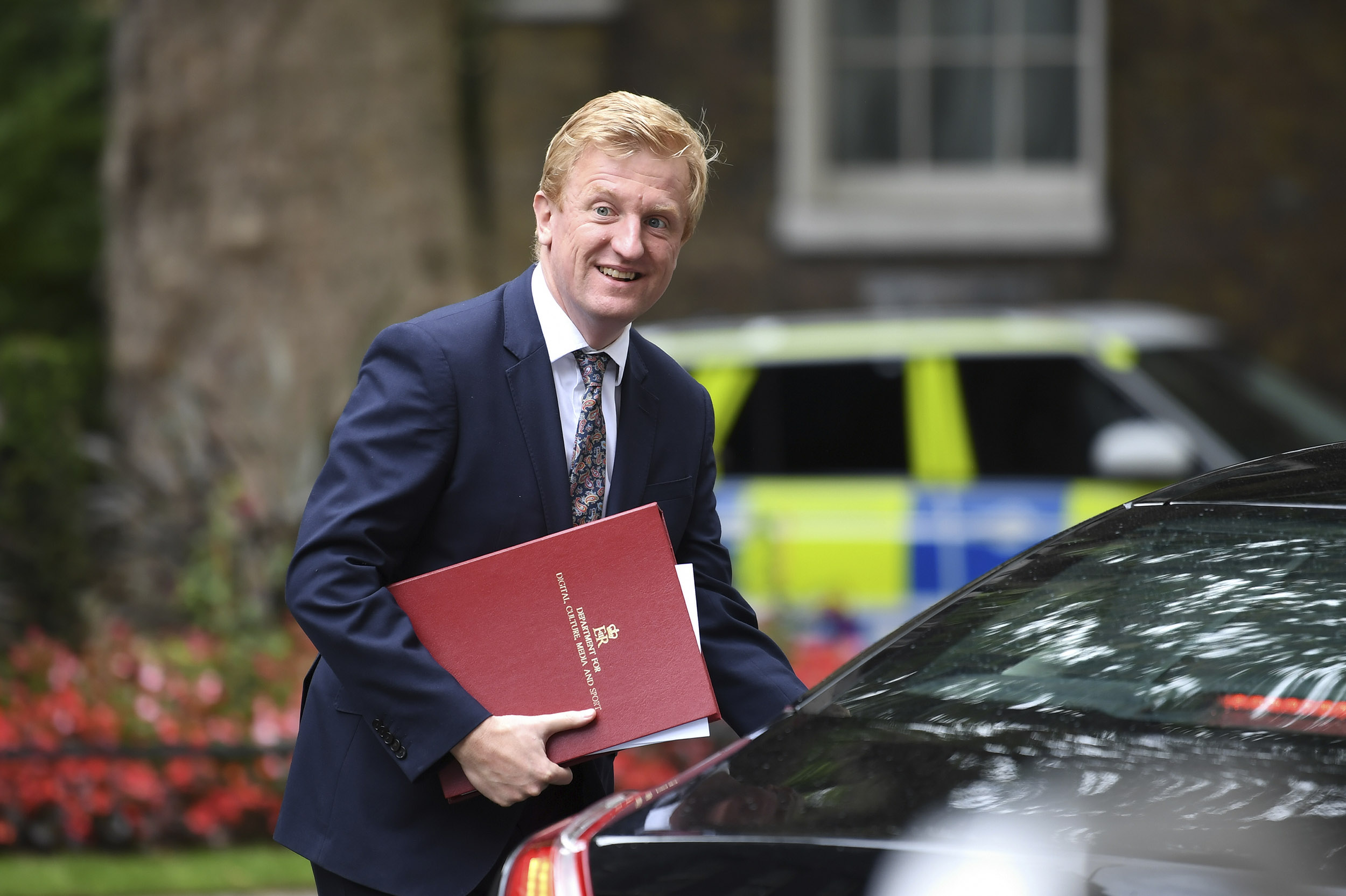 Digital, Culture, Media and Sport Secretary Oliver Dowden departs 10 Downing Street, in London, England, on July 15.