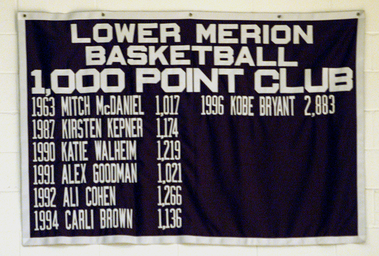 A banner hangs in the gym at Lower Merion High School in Philadelphia honoring Kobe Bryant among the other members of the school's 1,000 Point Club.