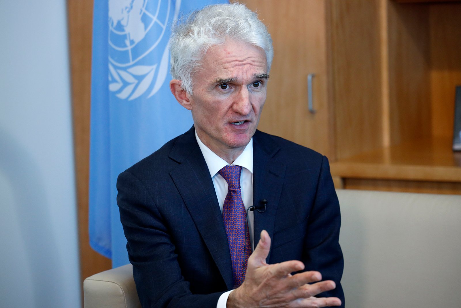United Nations Undersecretary-General for Humanitarian Affairs and Emergency Relief Coordinator Mark Lowcock speaks in an interview with Xinhua at the UN headquarters in New York on February 13.