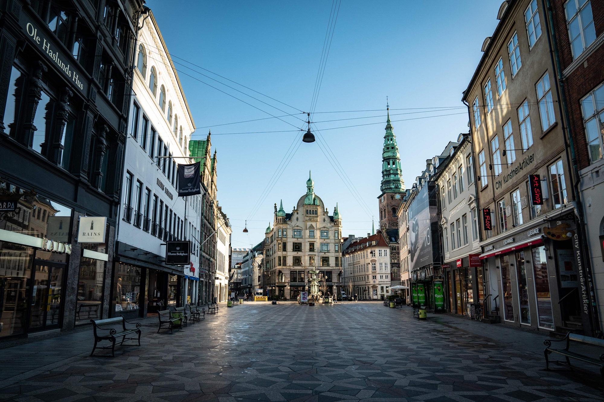 """The famous """"Stroeget"""" pedestrian street in Copenhagen, Denmark, is empty on January 12."""