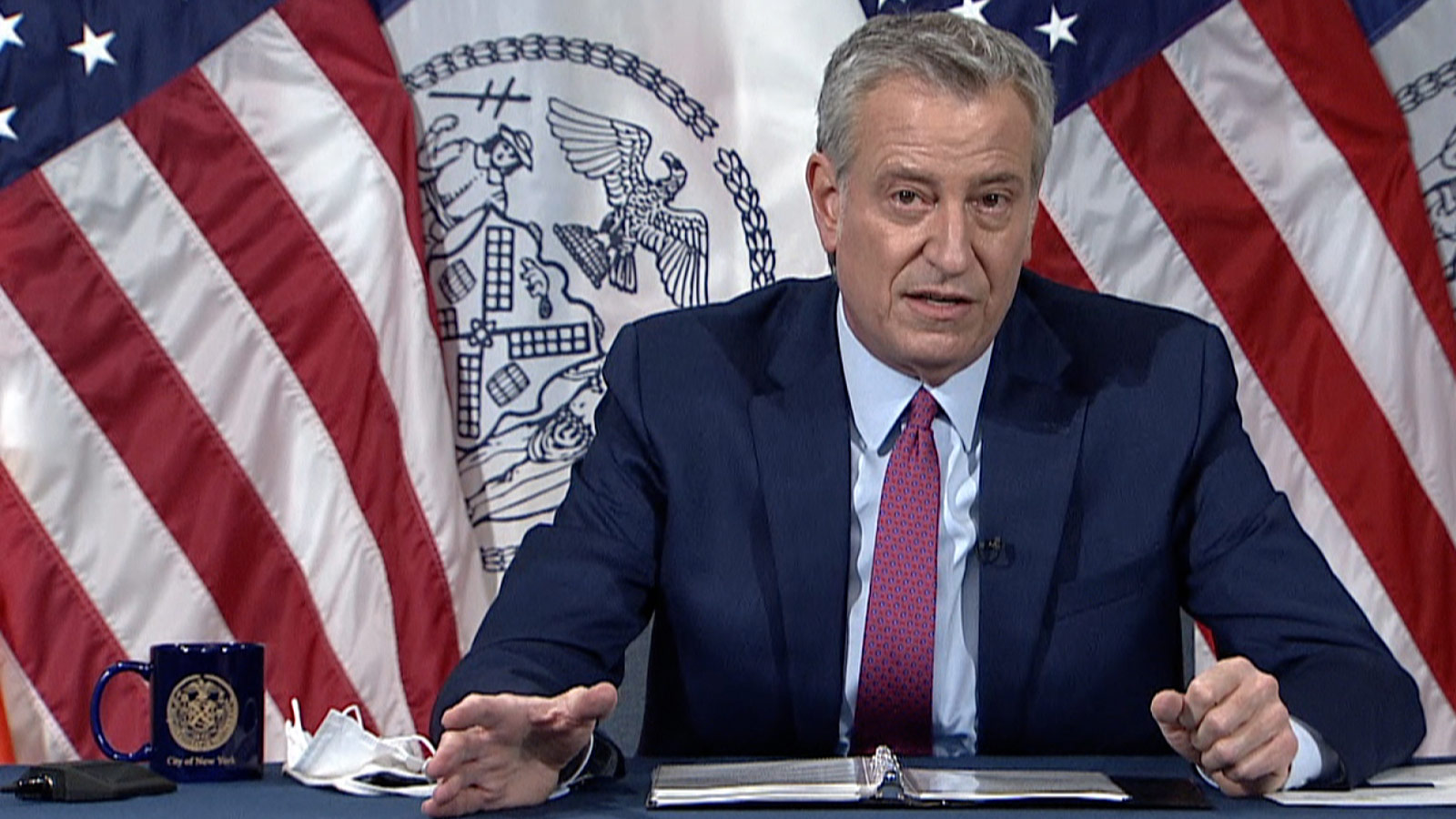 New York City Mayor Bill de Blasio speaks during a press conference on Tuesday.