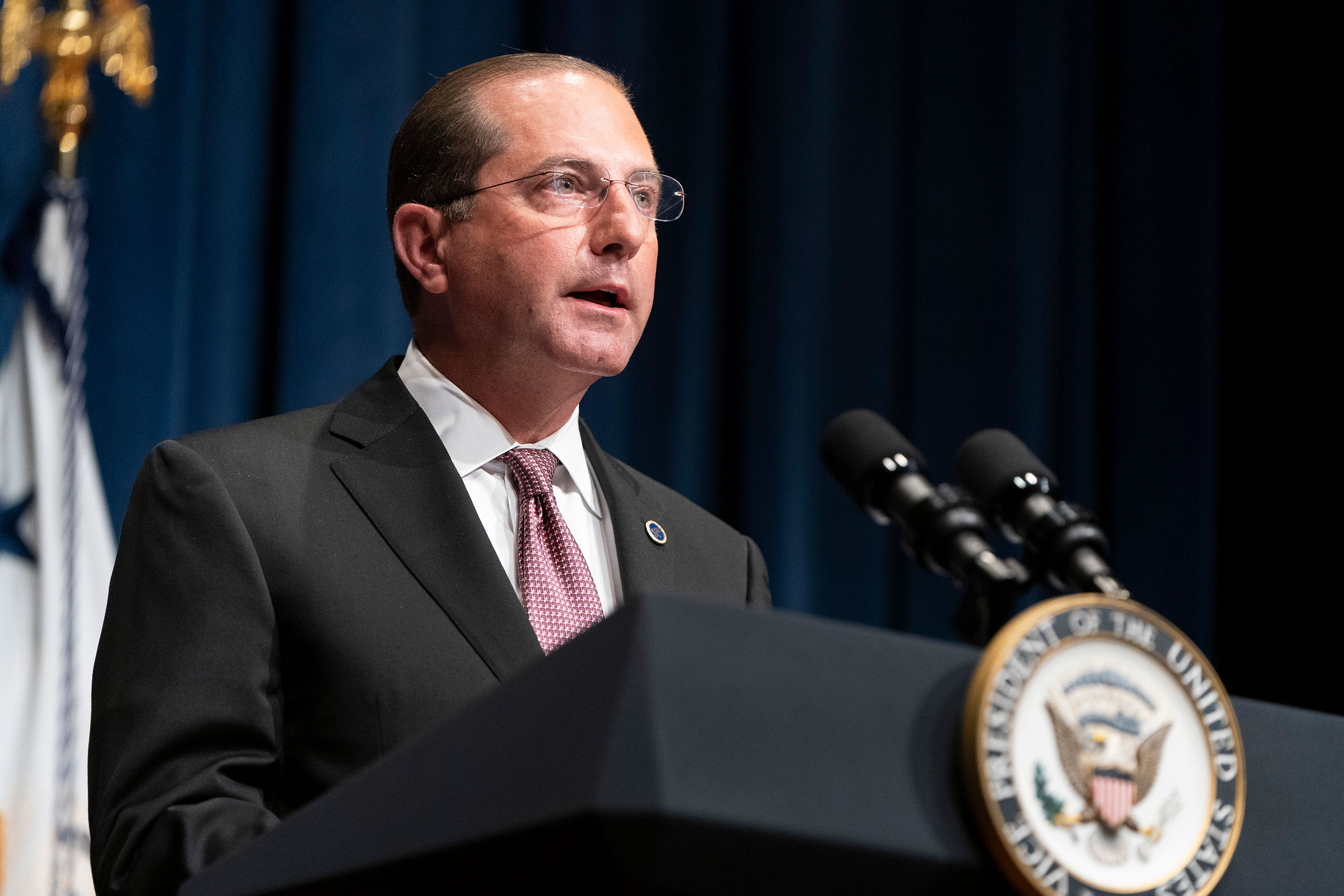 HHS Secretary Alex Azar speaks on June 26.