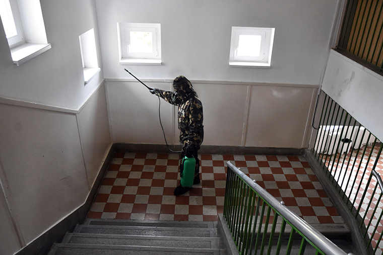 A Hungarian soldier disinfects an elementary school in Szolnok, Hungary, on October 26.