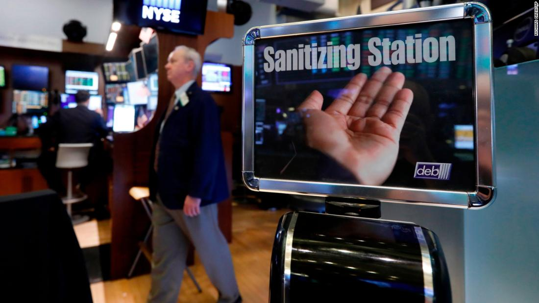 A hand sanitizing station on the floor of the New York Stock Exchange, Tuesday, March 3, 2020.