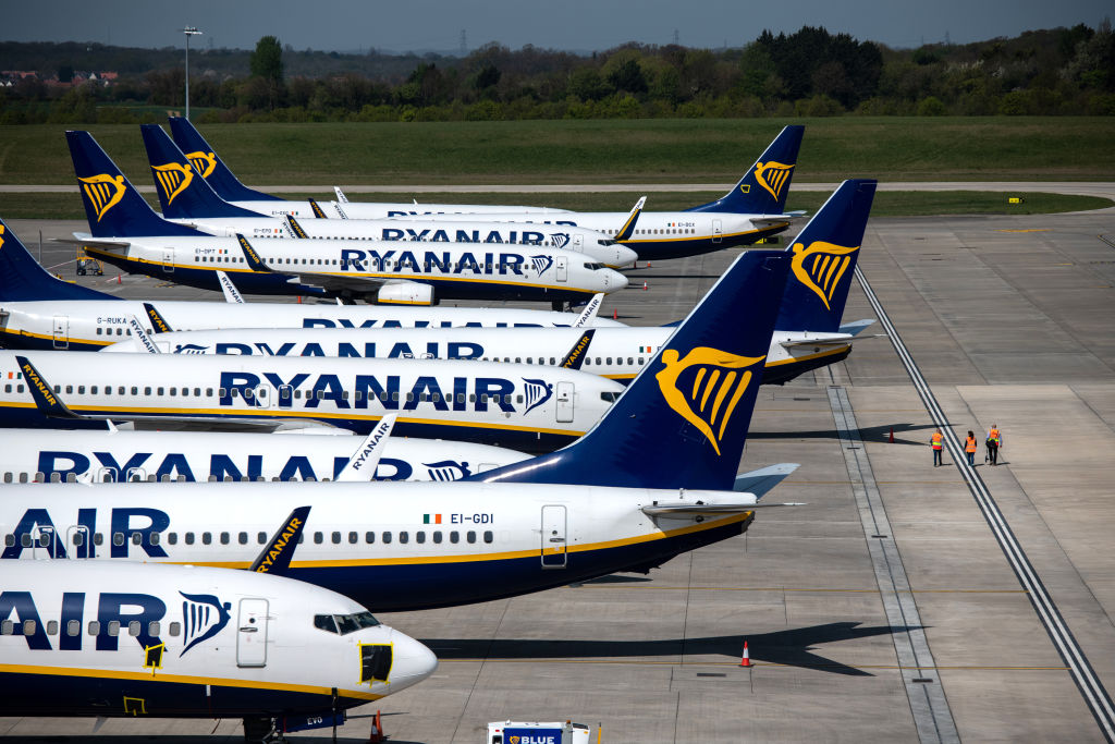 Ryanair passenger planes parked at London Stansted Airport on April 15.