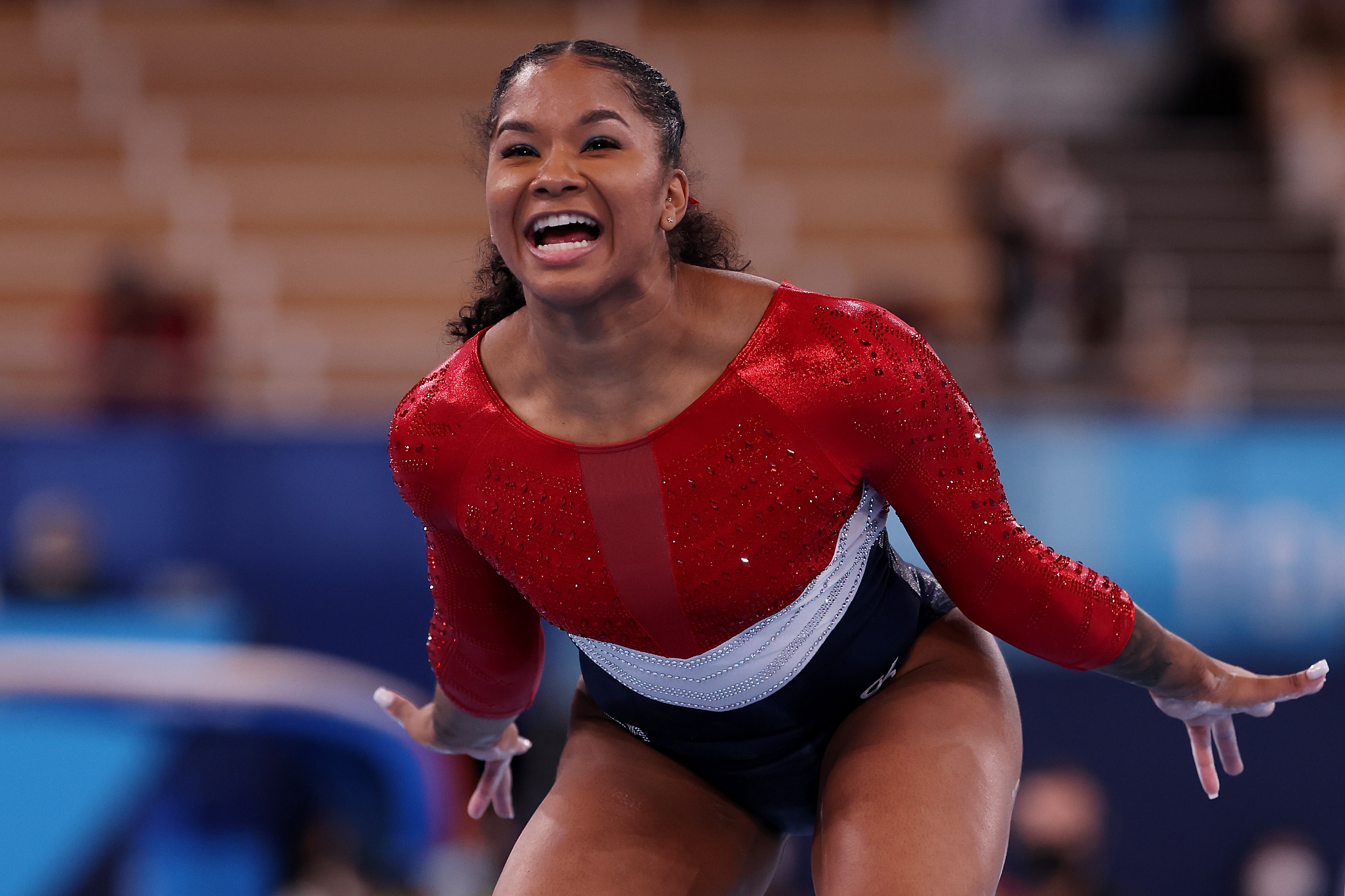Jordan Chiles of Team United States reacts as she competes in the balance beam during the Women's Team Final on July 27.