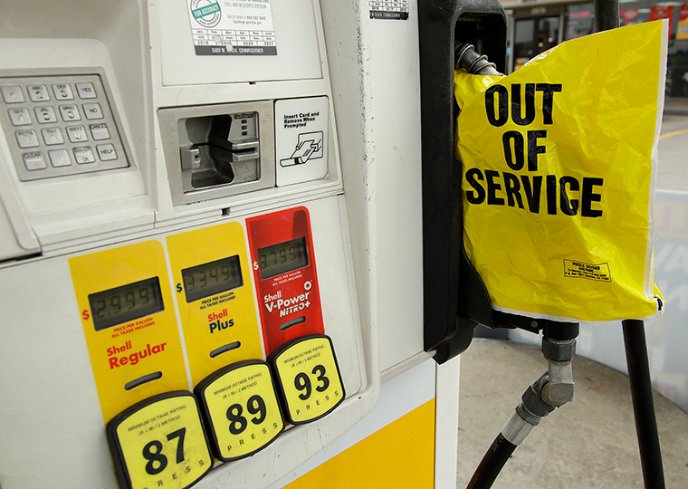 A gasoline station that ran out of gas for sale displays an out of service sign on the pump on Tuesday, May 11, in Atlanta.