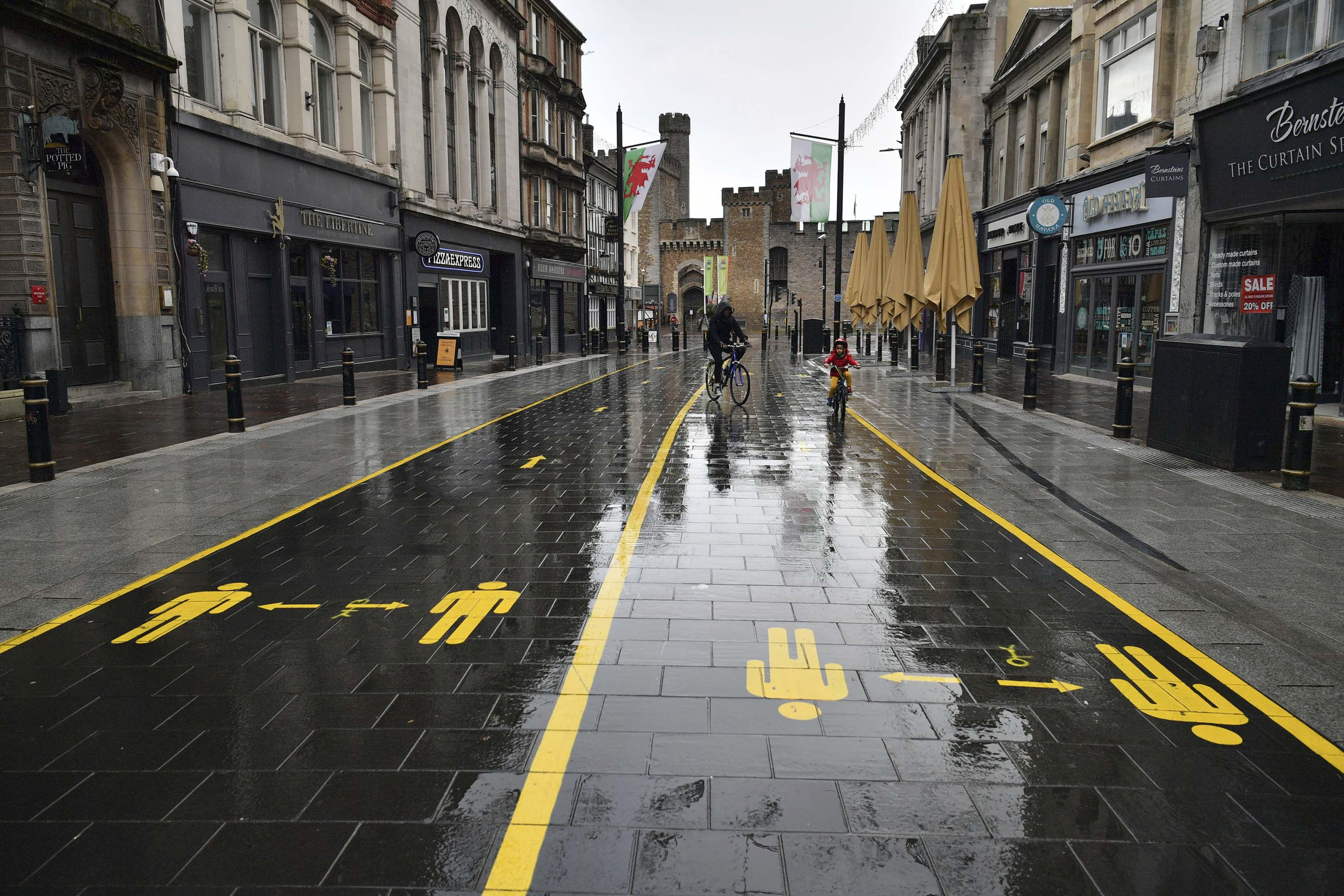 A view of a quiet street in Cardiff, Wales, on Sunday, October 25.