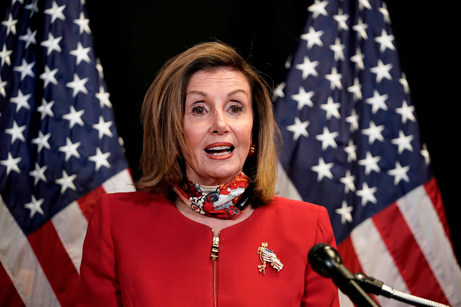 Speaker of the House Nancy Pelosi, talks to reporters about Election Day results in races for the House of Representatives, at Democratic National Committee headquarters in Washington, DC November 3.