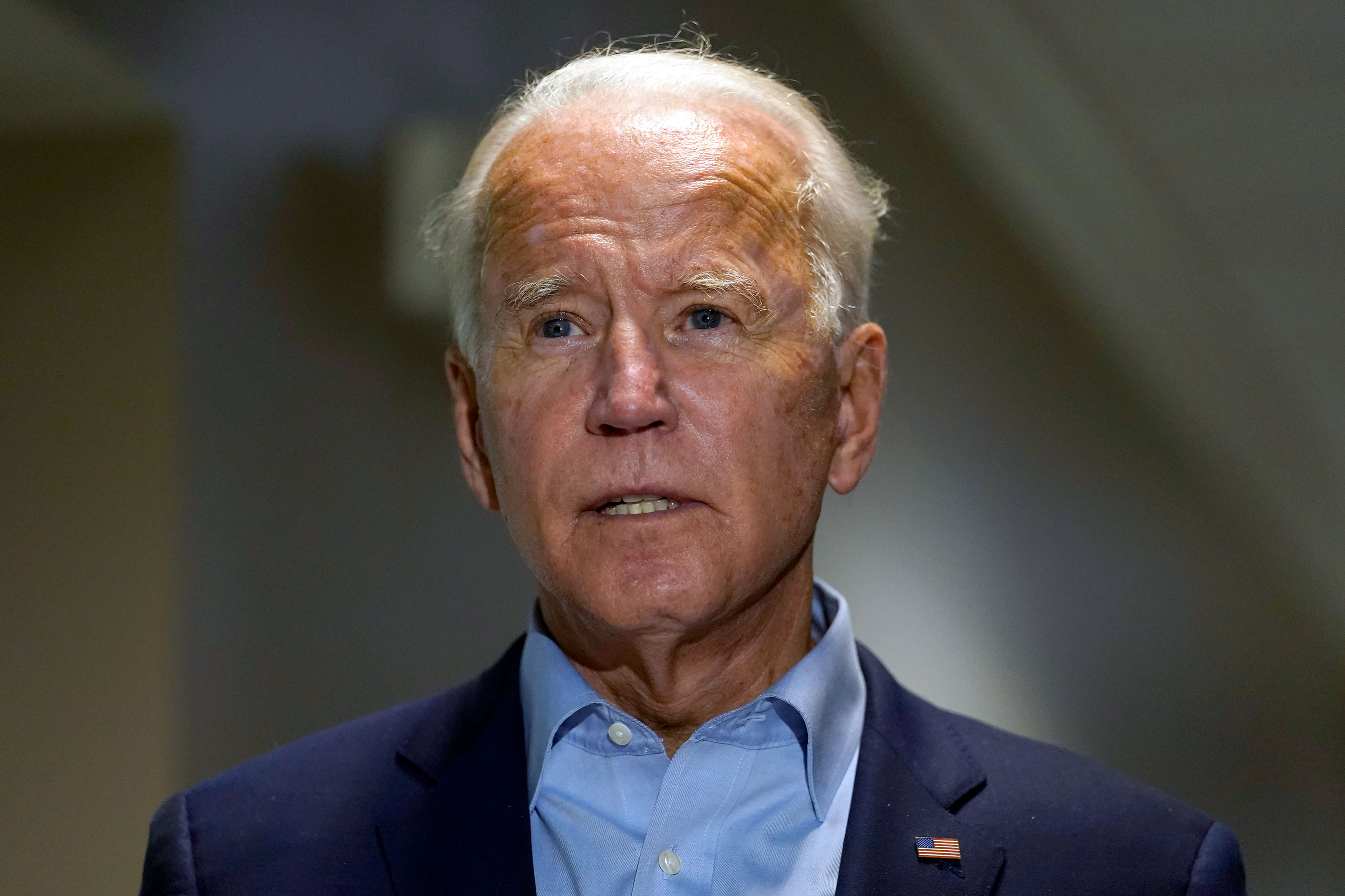 Democratic presidential candidate Joe Biden speaks about the death of Supreme Court Justice Ruth Bader Ginsburg on September 18 in New Castle, Delaware.