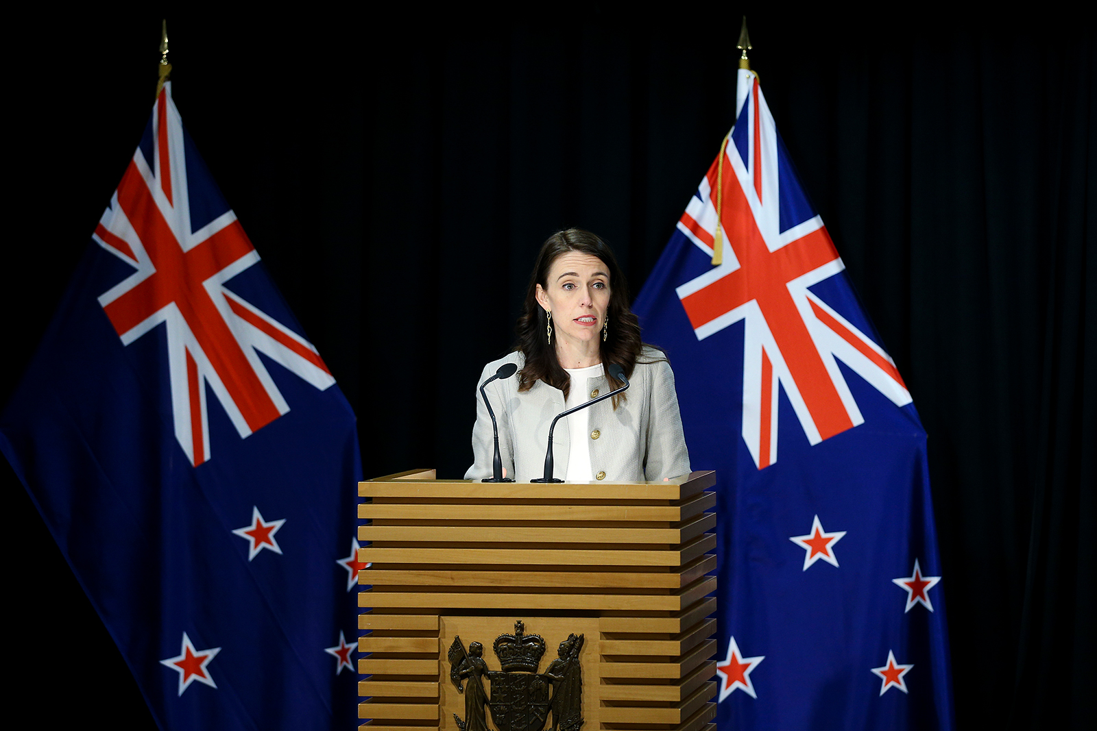 New Zealand Prime Minister Jacinda Ardern speaks during a press conference in Wellington, New Zealand on August 14.