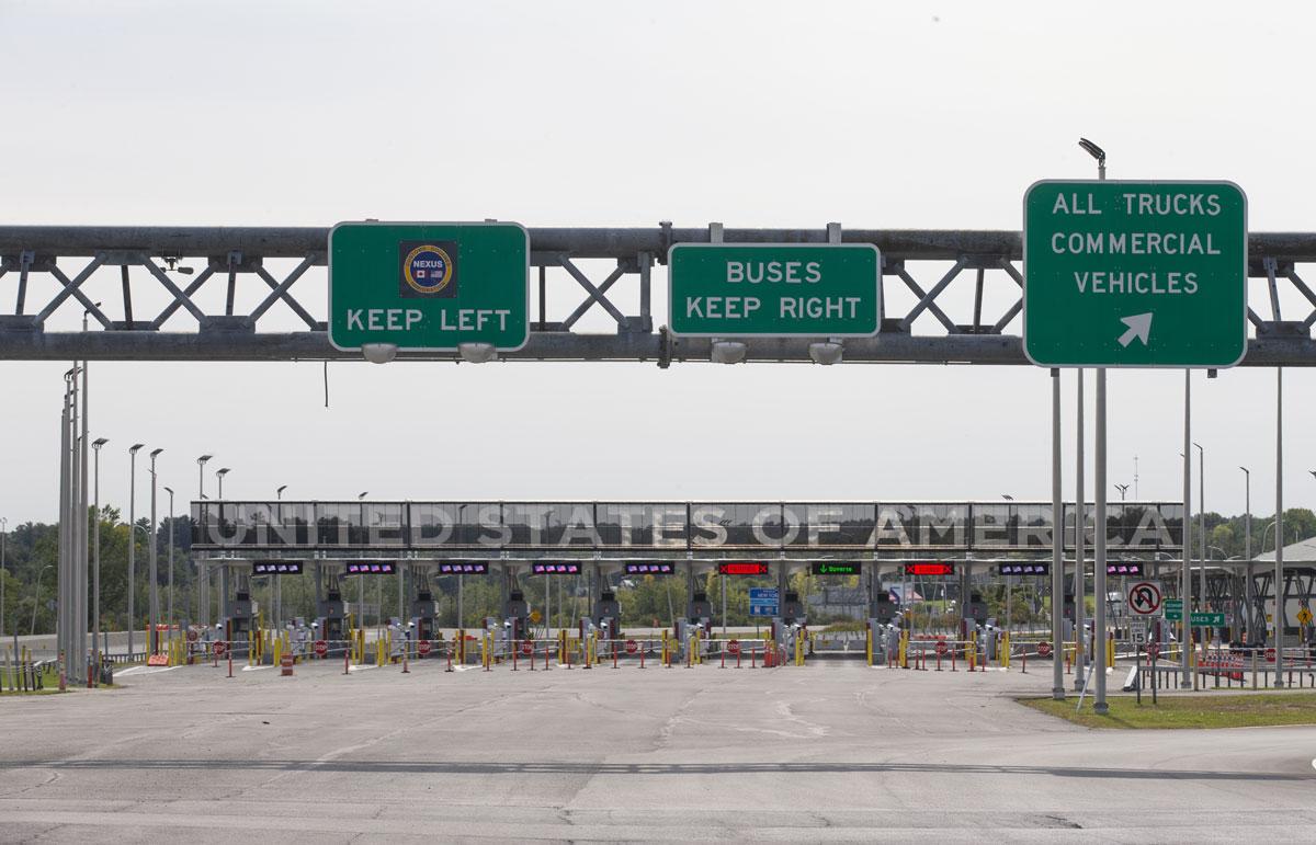 Empty lanes at the Canada-U.S. border in Saint-Bernard-de-Lacolle, Quebec, Canada, on September 16.