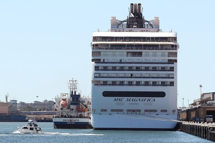 Oil tanker Vacamonte refuels the MSC Magnifica while berthed at Fremantle Passenger Terminal on March 24, in Fremantle, Australia.
