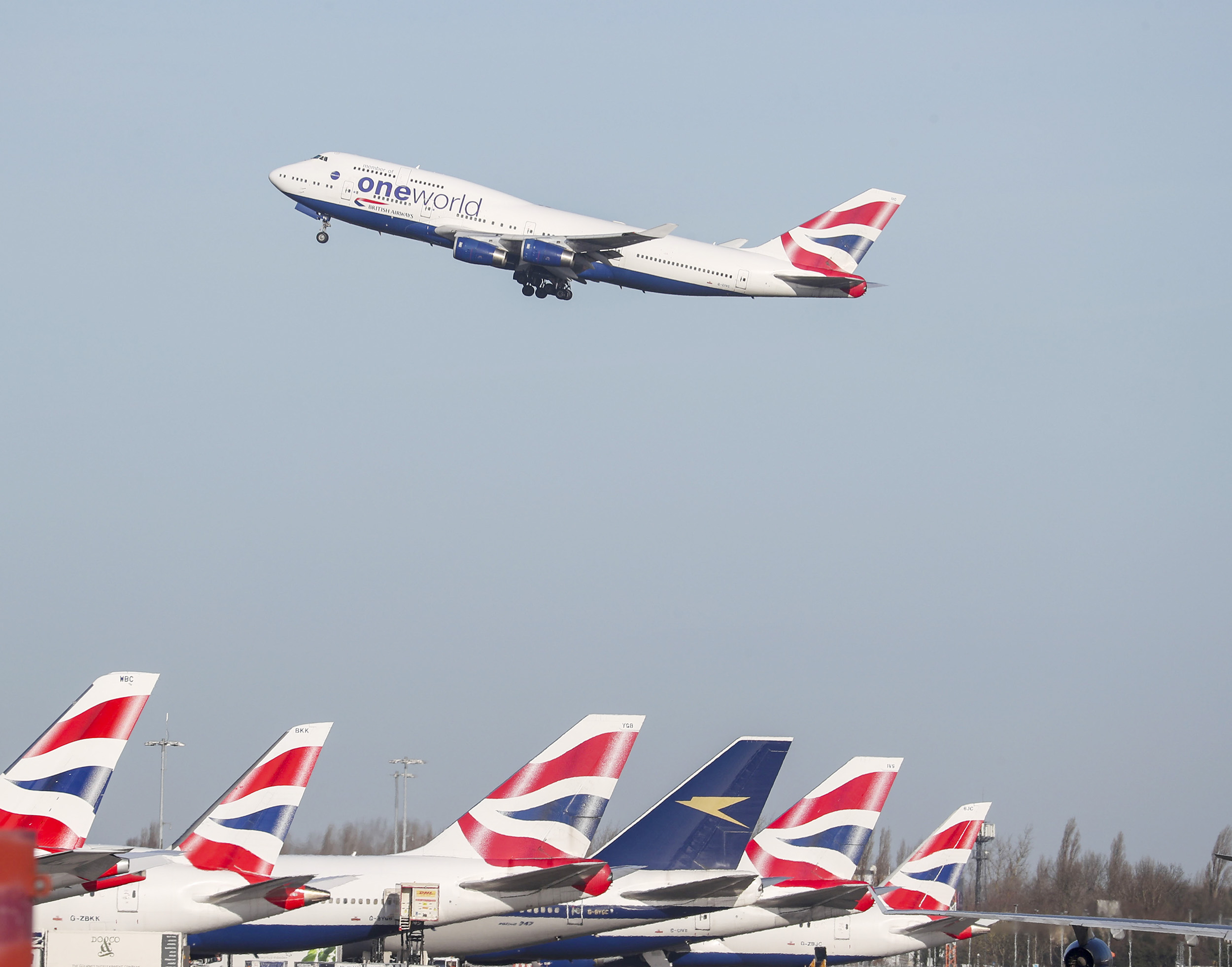 A British Airways plane takes off at Heathrow Airport on January 29, in London, England.