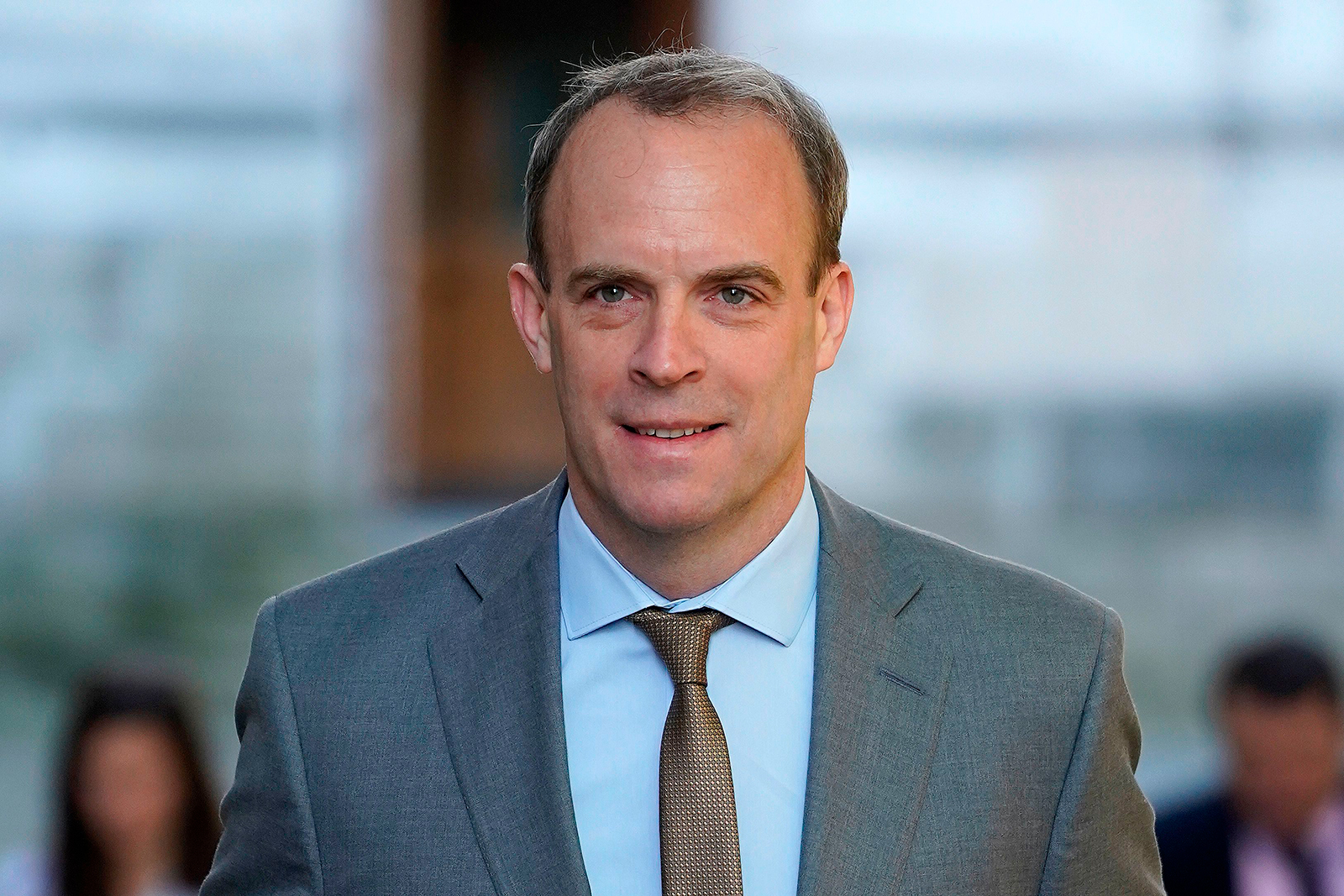 Britain's Foreign Secretary Dominic Raab leaves the Foreign Office in London on April 20.