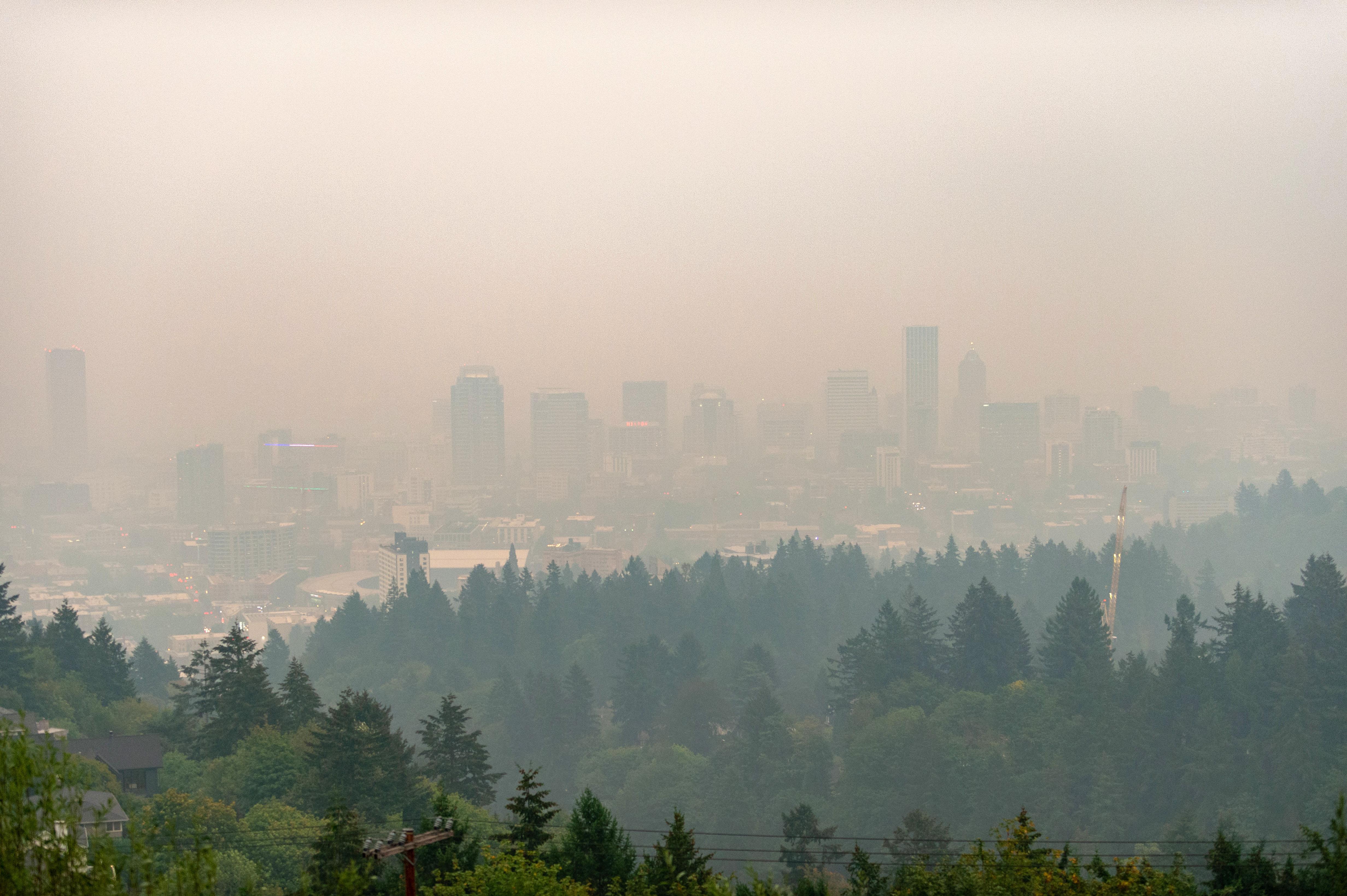 Smoke fills the sky in Portland, Oregon, on September 10.