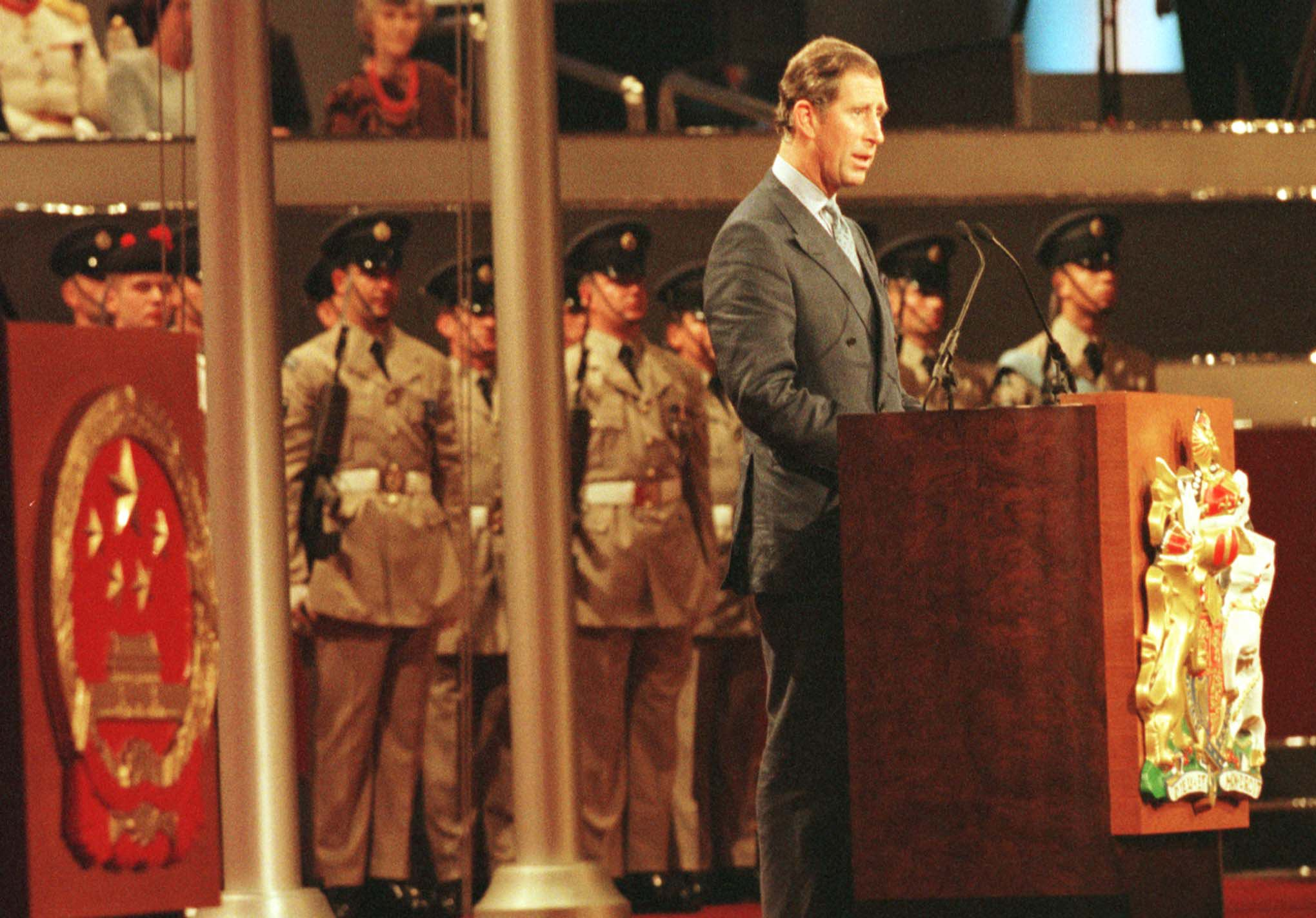 Britain's Prince of Wales delivers his speech during the ceremony commemorating the handover of Hong Kong to China on July 1, 1997.
