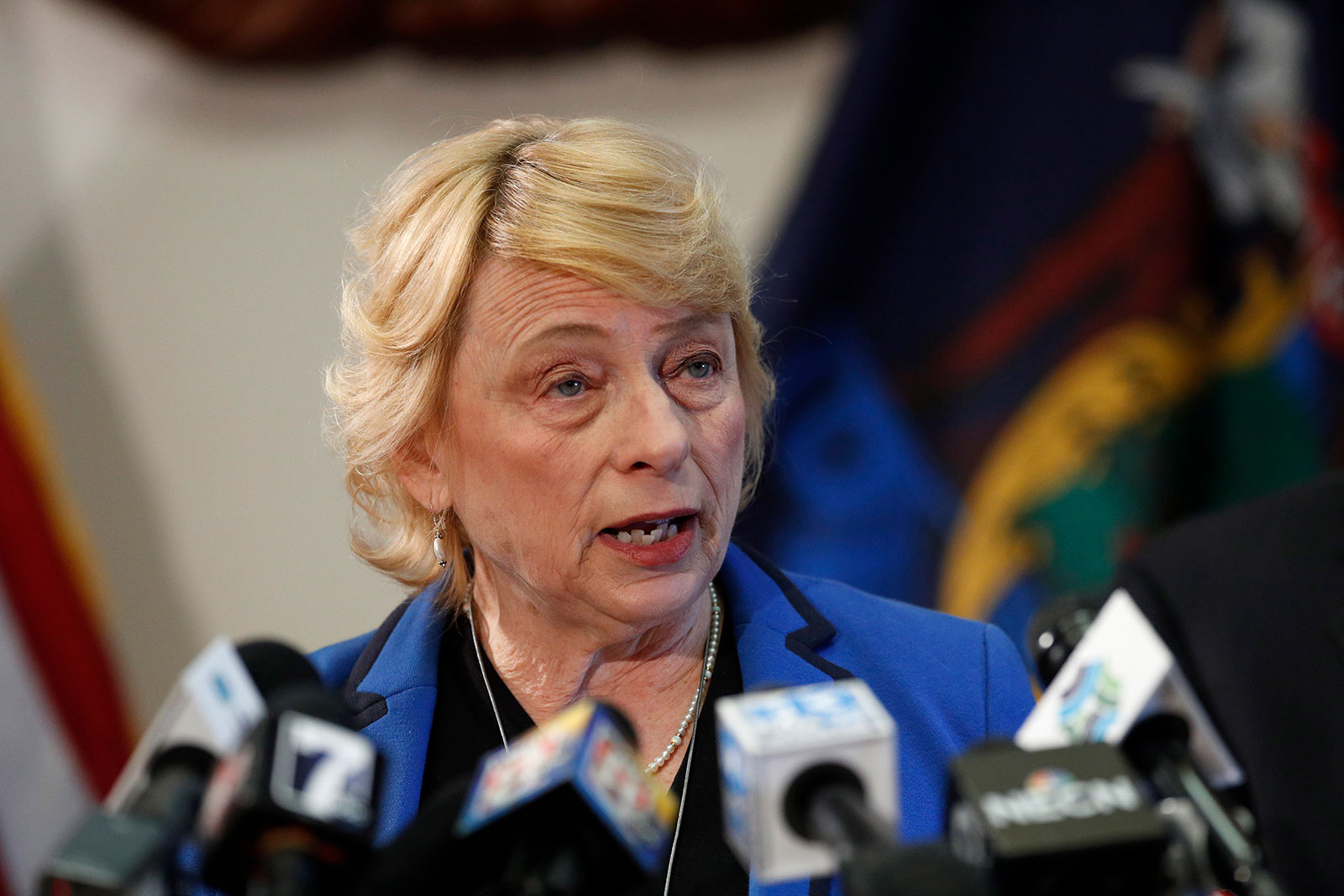 Gov. Janet Mills speaks at a press briefing in Augusta, Maine, on Thursday, March 12.