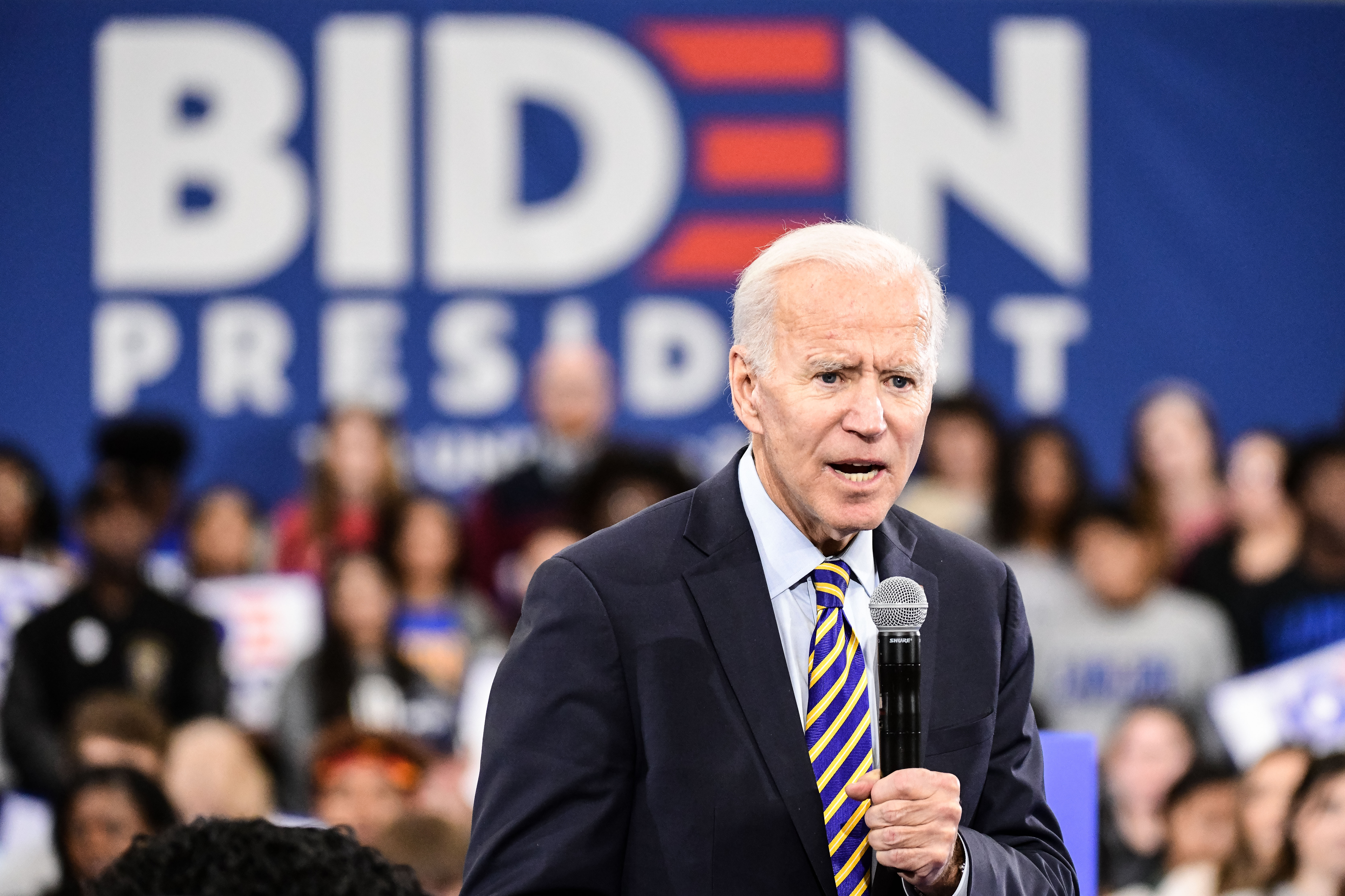Democratic presidential candidate, former vice President Joe Biden speaks to the audience during a town hall on November 21, 2019.