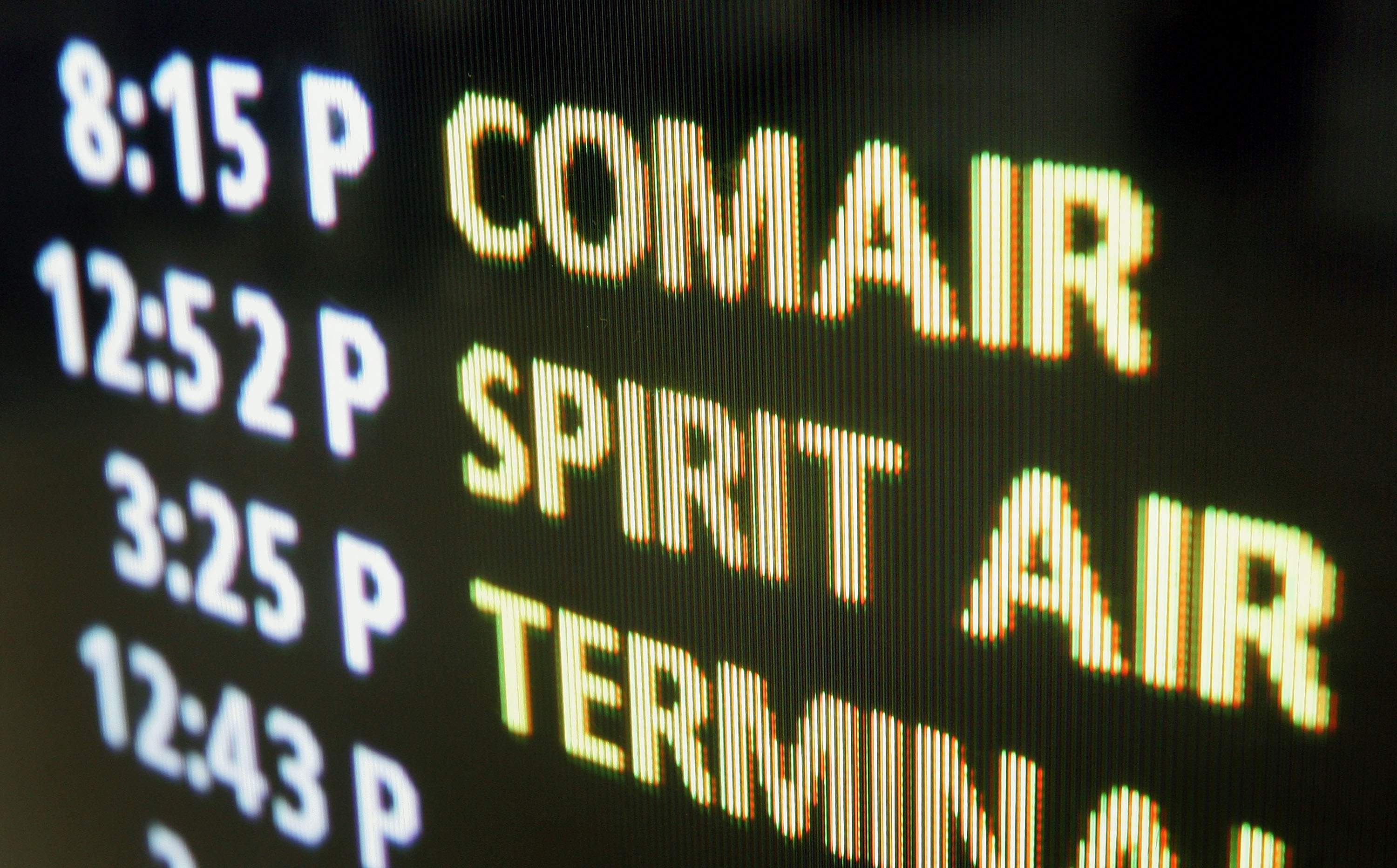 Comair is displayed on the Arrival/Departure board at O'Hare International Airport in Chicago.