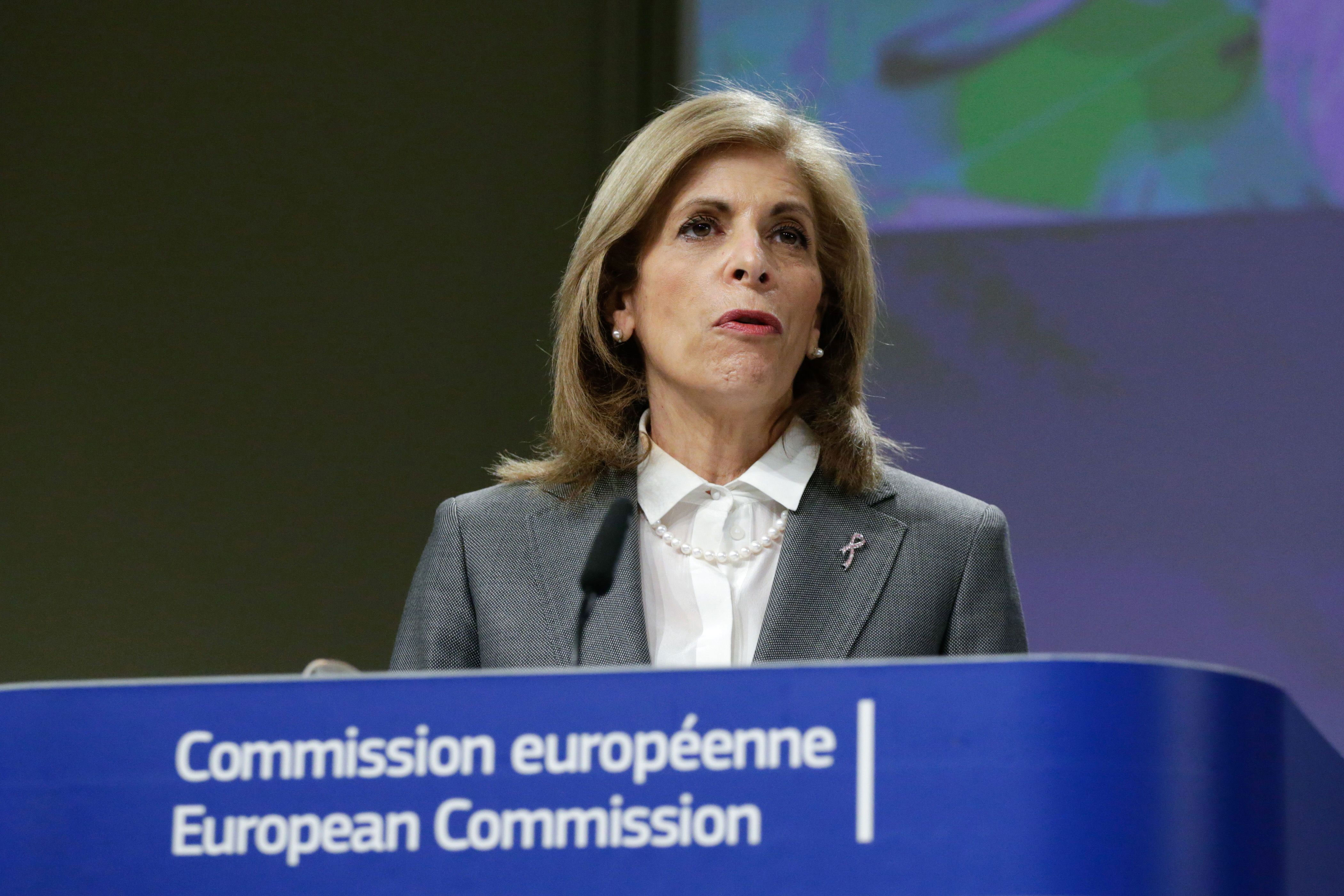 Stella Kyriakides, European commissioner for health and food safety, speaks at a press conference in Brussels, Belgium, on February 17.