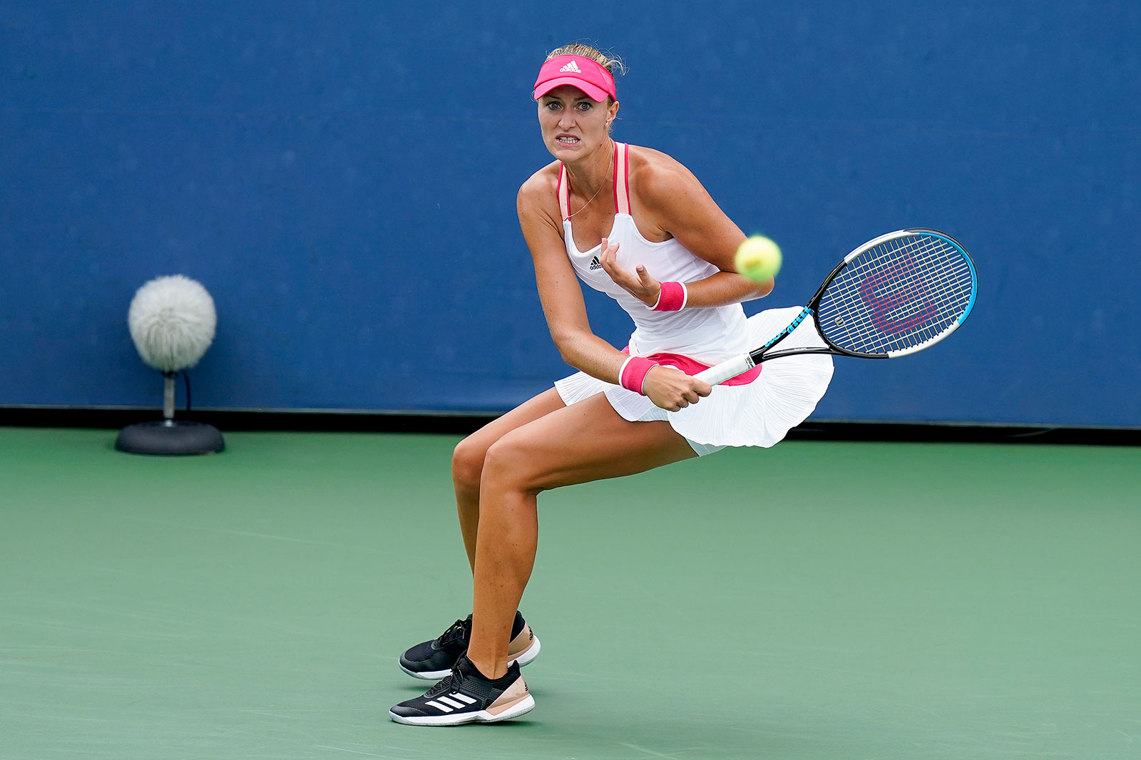 Kristina Mladenovic returns a shot during the second round of the US Open on Wednesday, September 2.