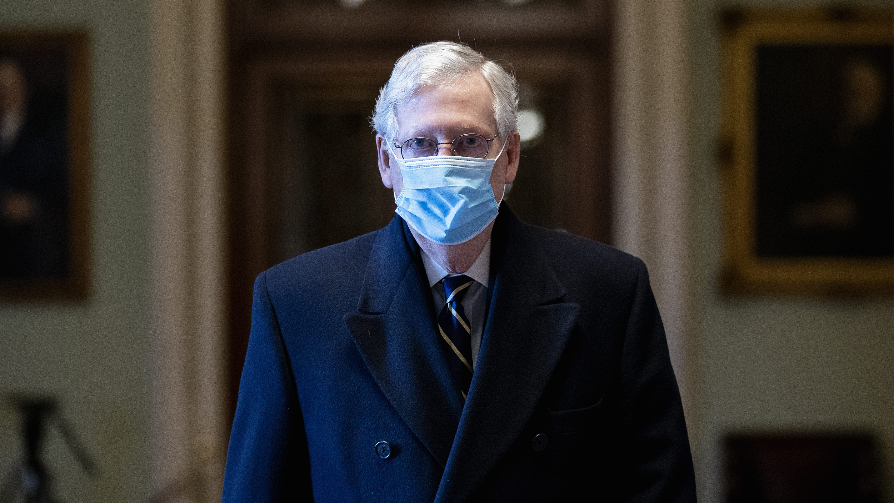 Senate Minority Leader Mitch McConnell arrives at the Capitol in Washington, DC, on Wednesday, February 10.