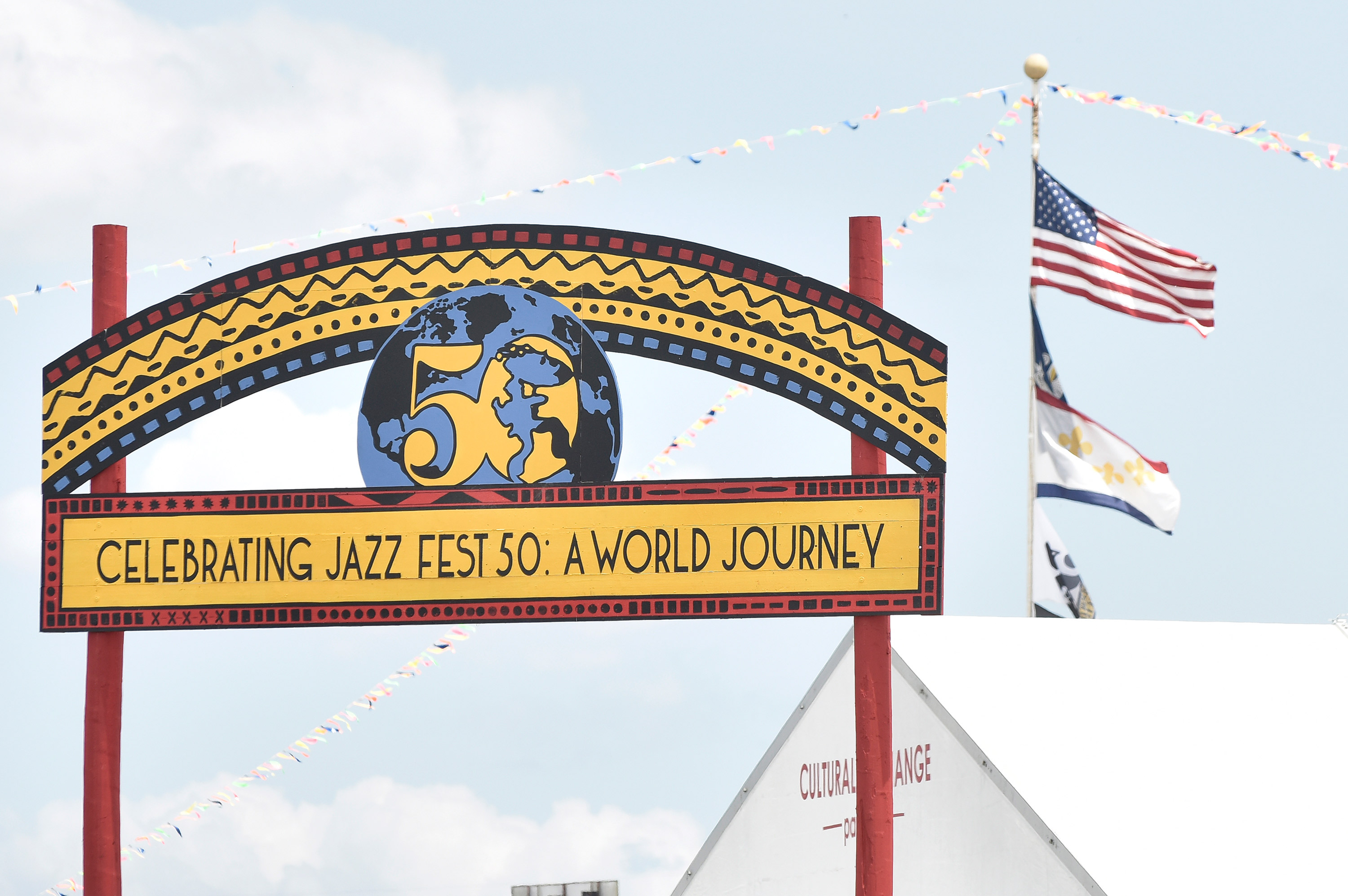 A New Orleans Jazz & Heritage Festival sign is seen at Fair Grounds Race Course on May 2, 2019 in New Orleans.
