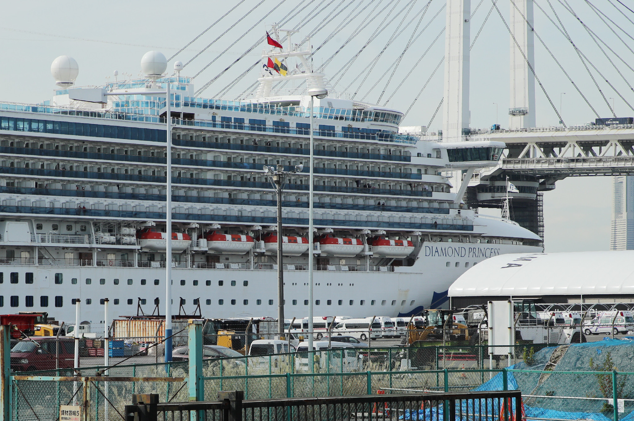 The Diamond Princess cruise ship anchored at Yokohama port on February 7, 2020.